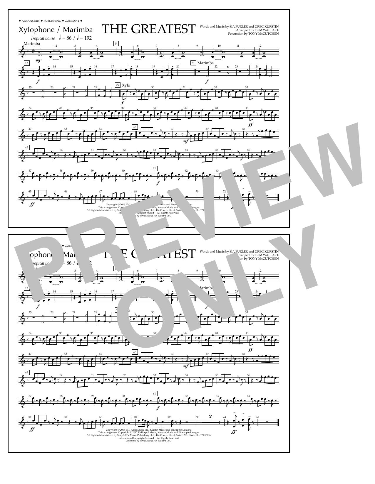 The Greatest - Xylophone/Marimba Sheet Music