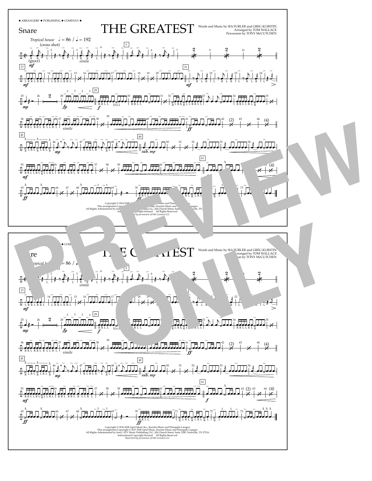 The Greatest - Snare Sheet Music