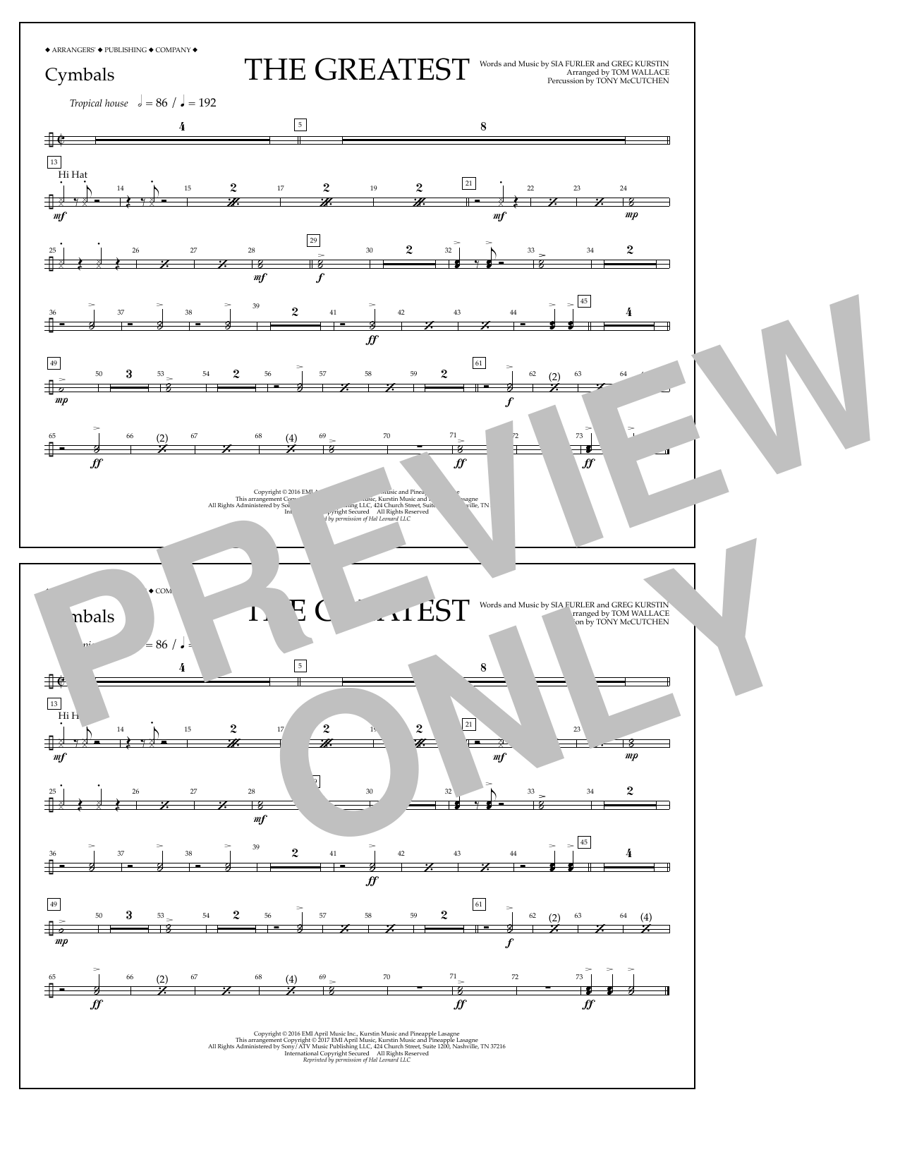 The Greatest - Cymbals Sheet Music