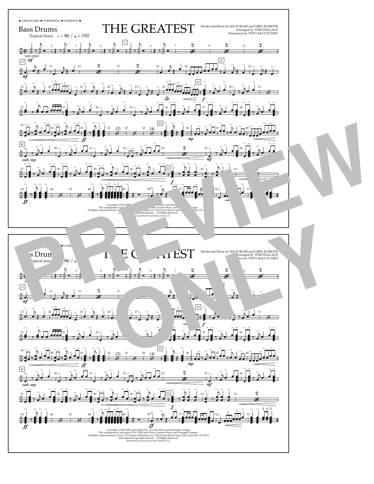 The Greatest - Bass Drums Sheet Music