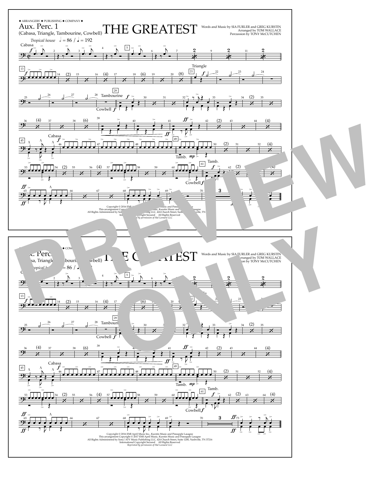 The Greatest - Aux. Perc. 1 Sheet Music