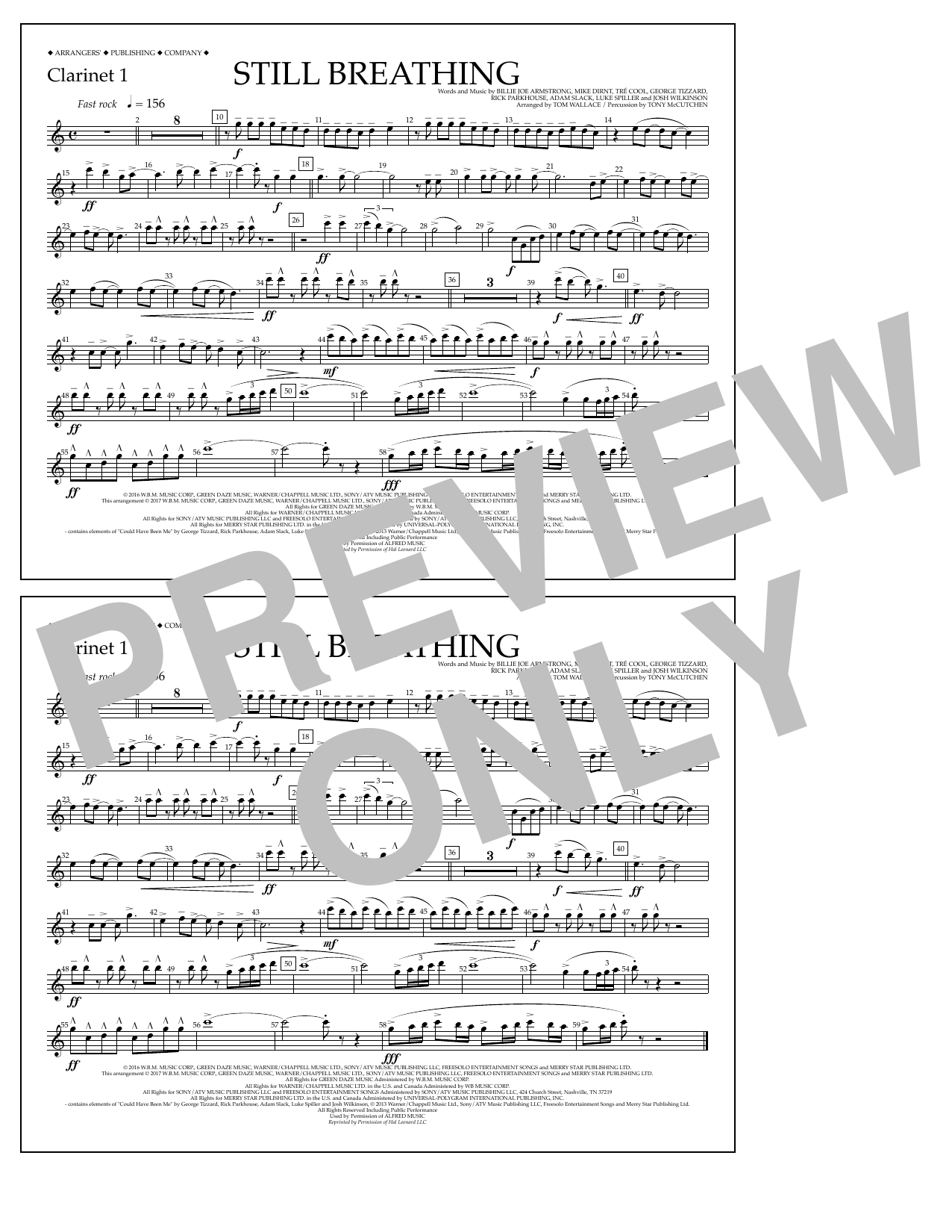 Still Breathing - Clarinet 1 Sheet Music