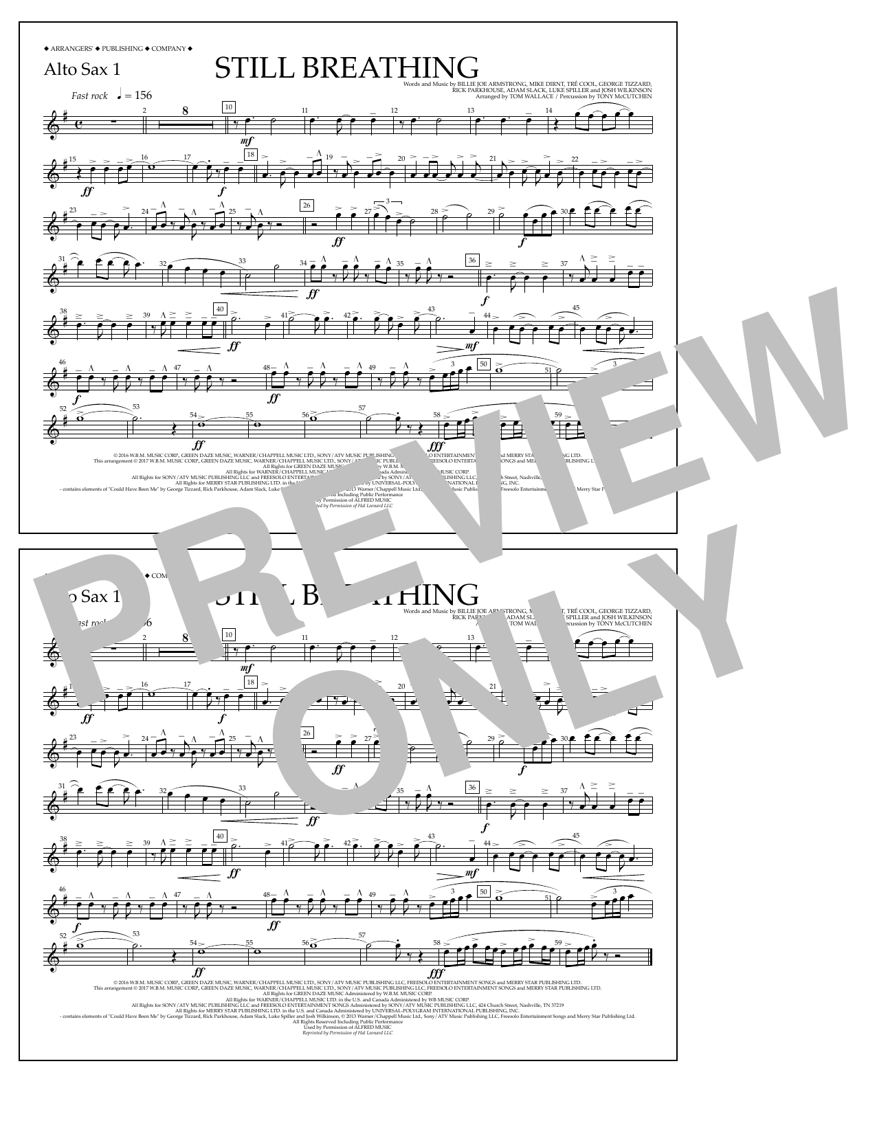 Still Breathing - Alto Sax 1 Sheet Music