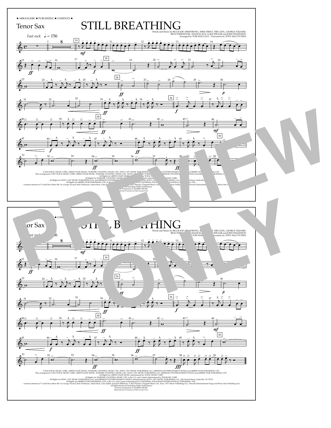 Still Breathing - Tenor Sax Sheet Music