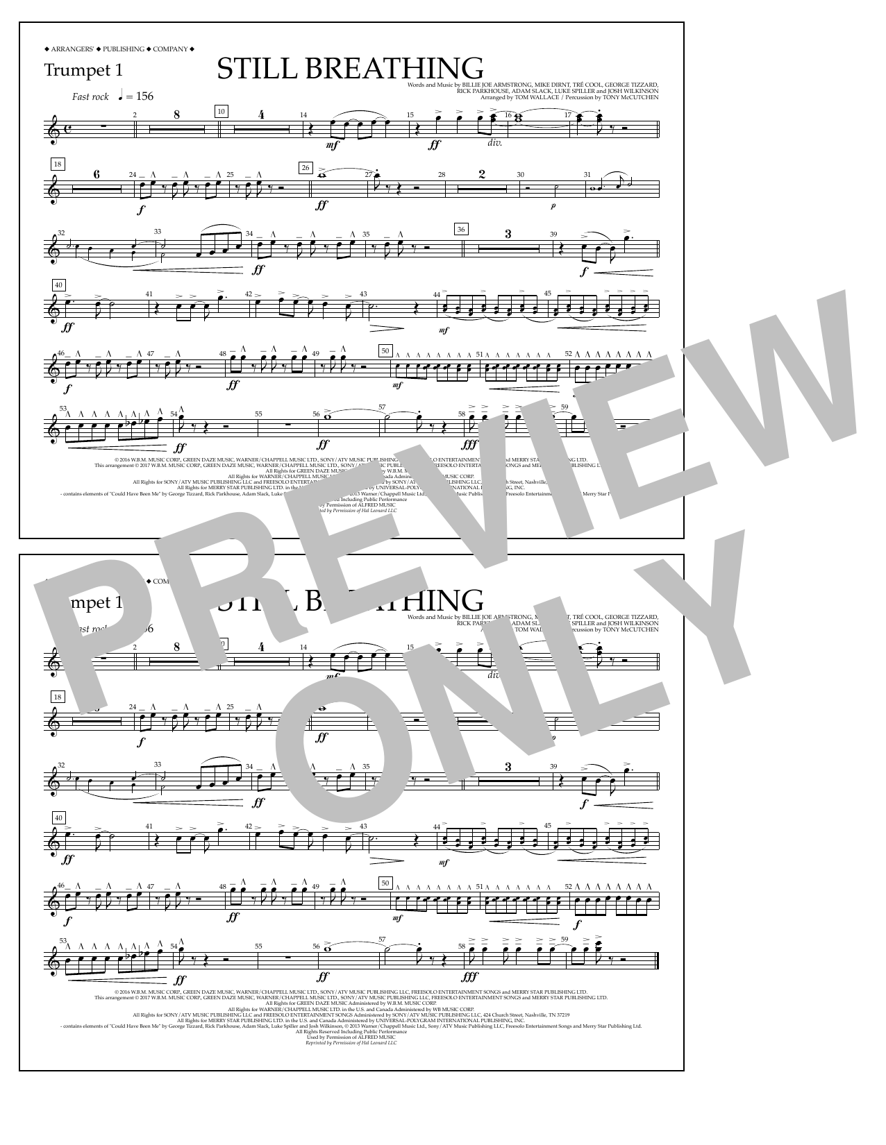 Still Breathing - Trumpet 1 Sheet Music
