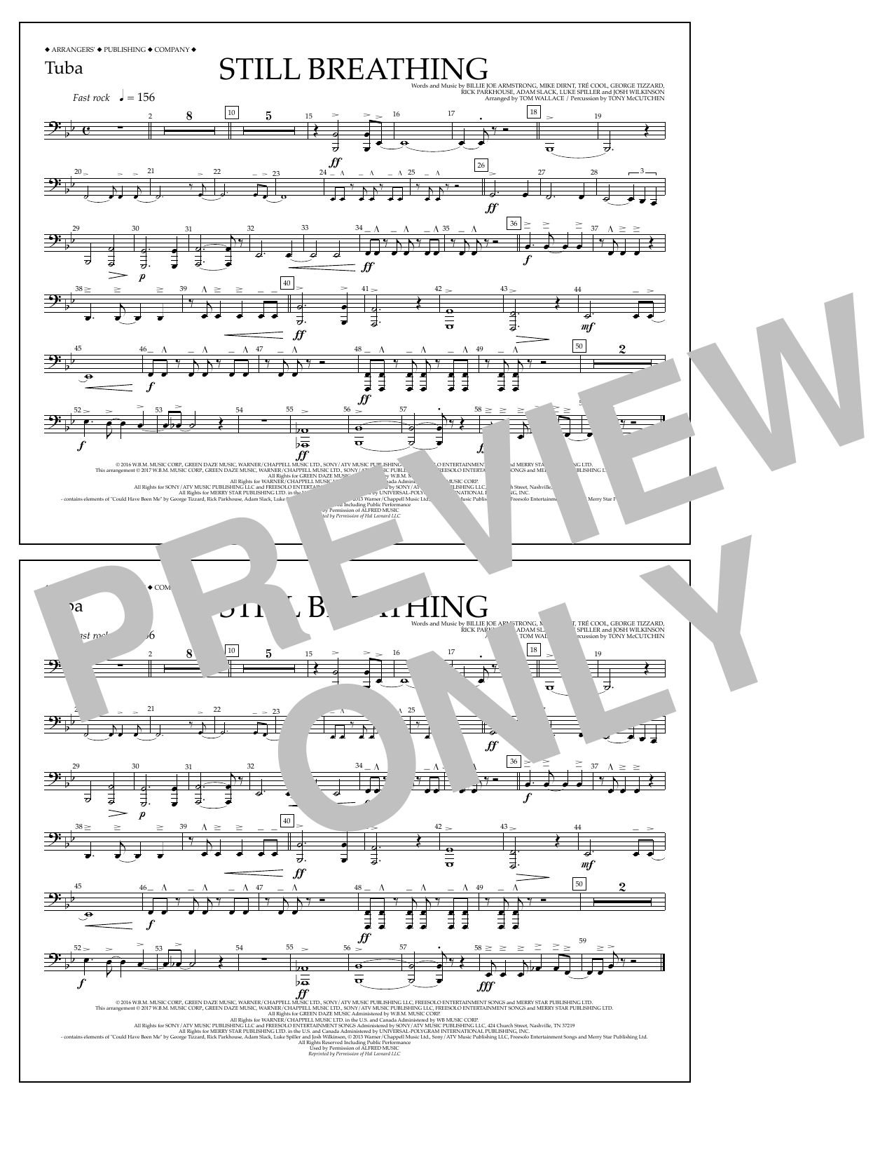Still Breathing - Tuba Sheet Music