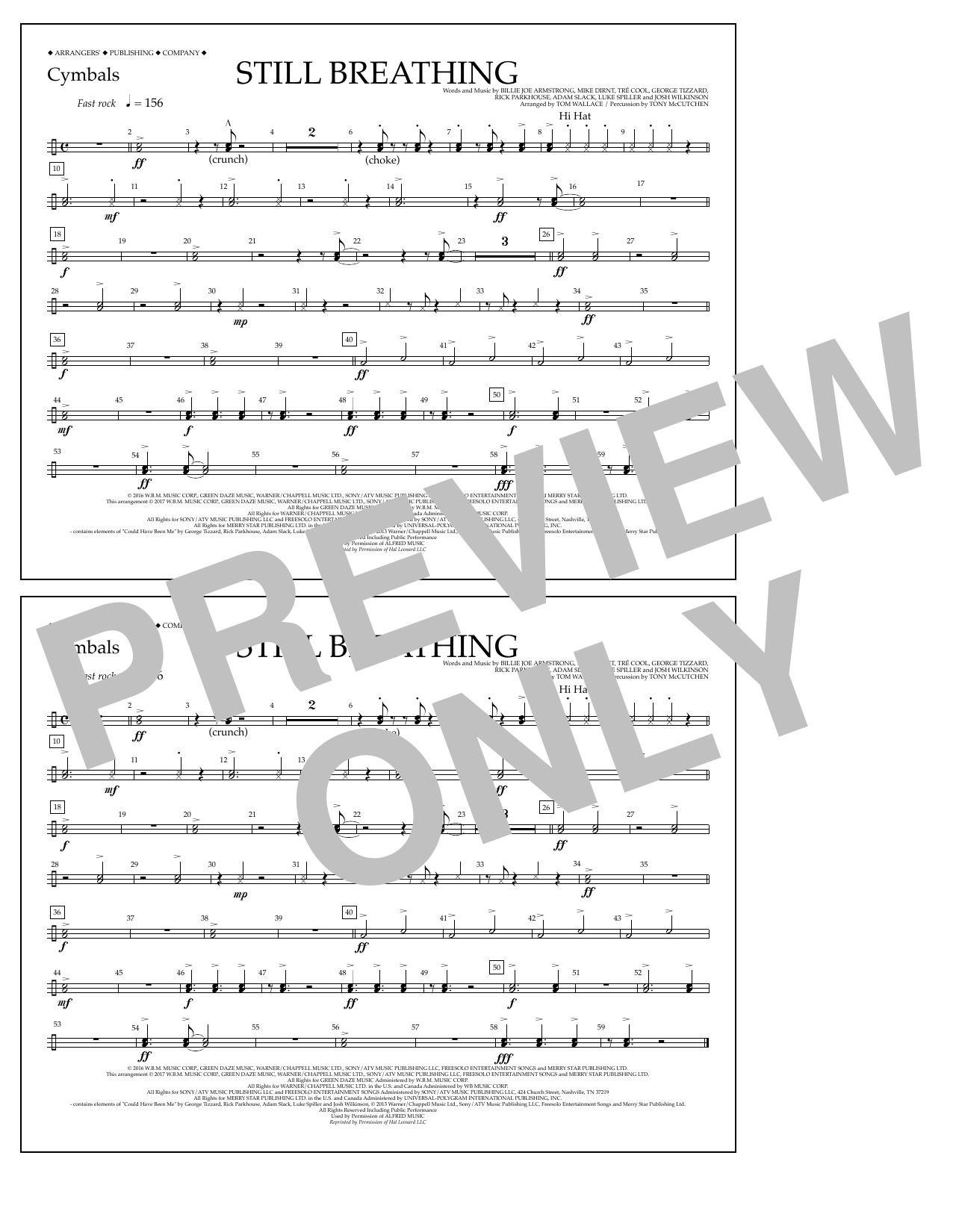 Still Breathing - Cymbals Sheet Music