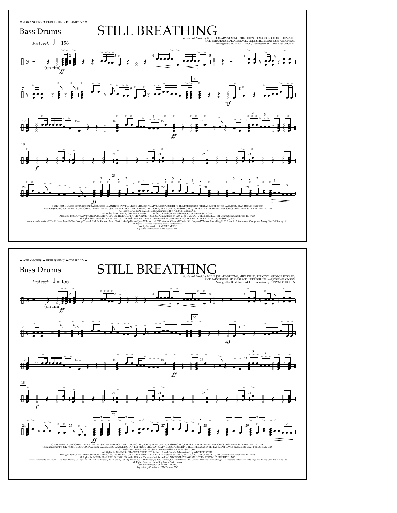 Still Breathing - Bass Drums Sheet Music