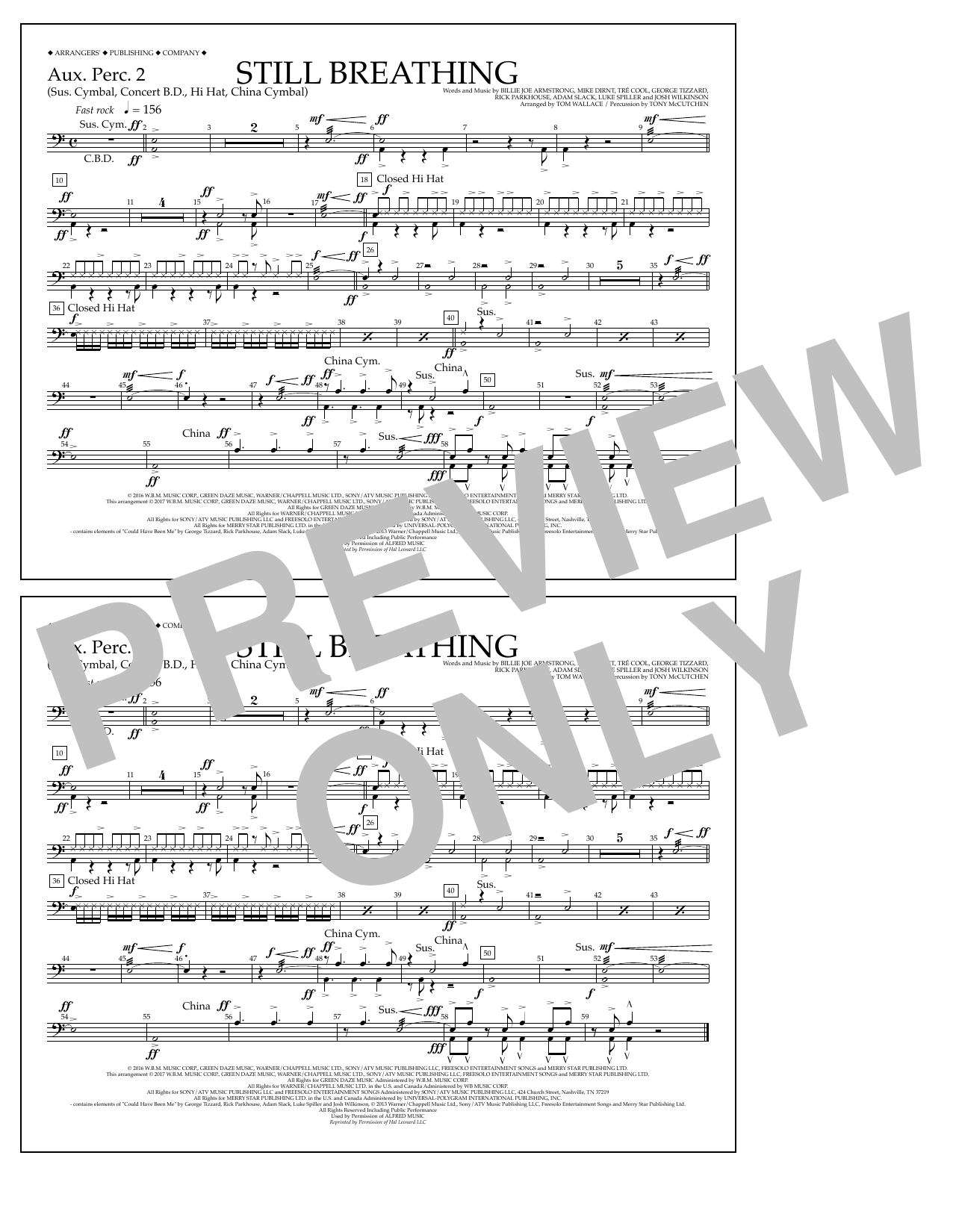 Still Breathing - Aux. Perc. 2 Sheet Music