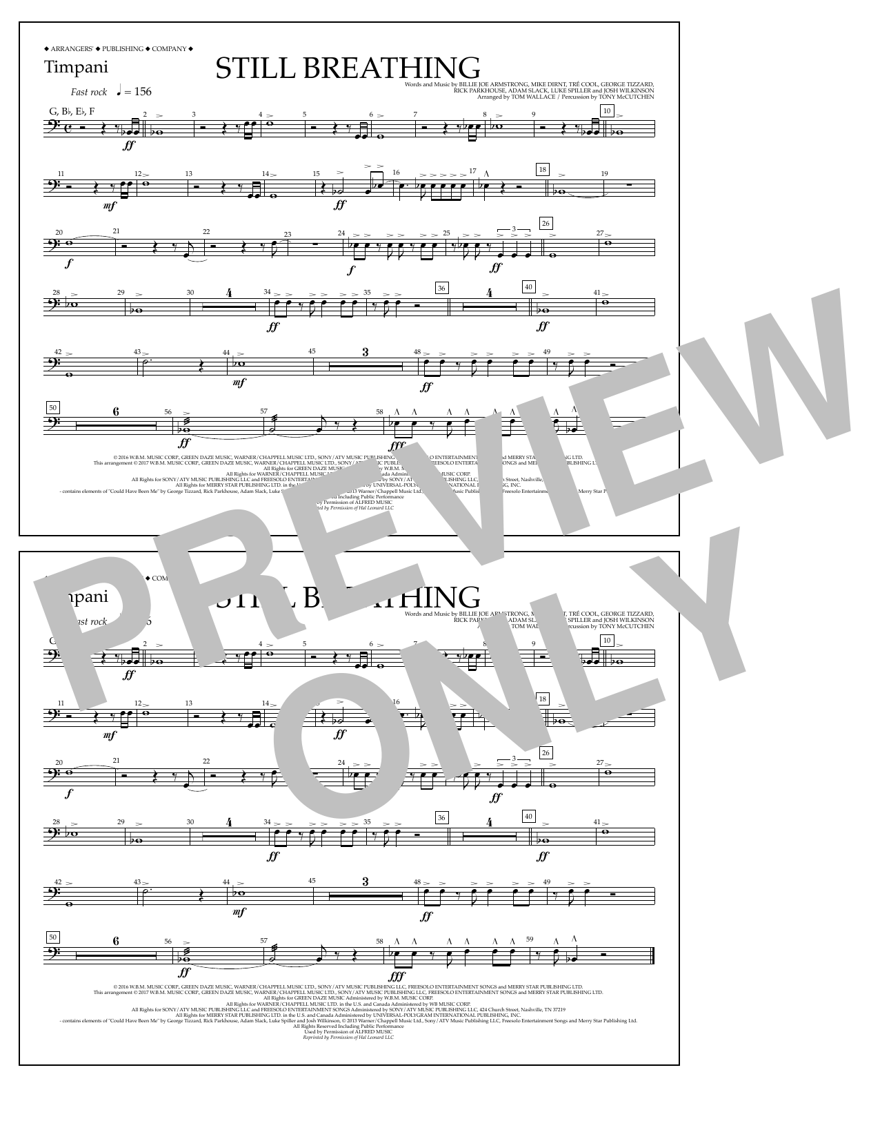 Still Breathing - Timpani Sheet Music