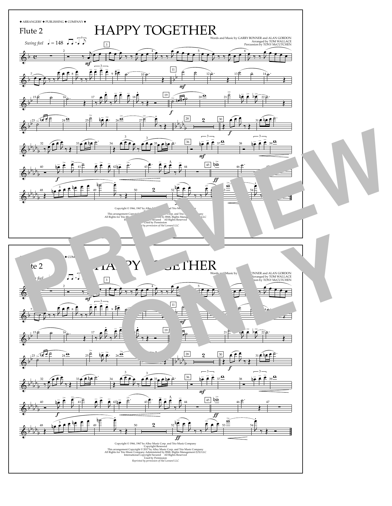 Happy Together - Flute 2 Sheet Music
