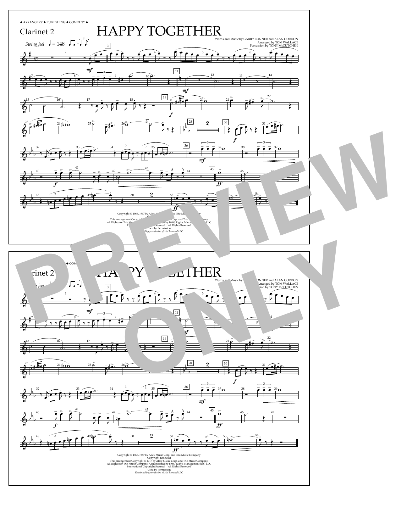 Happy Together - Clarinet 2 Sheet Music