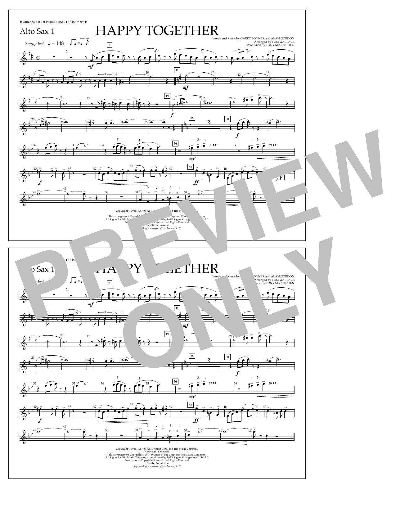 Happy Together - Alto Sax 1 Sheet Music