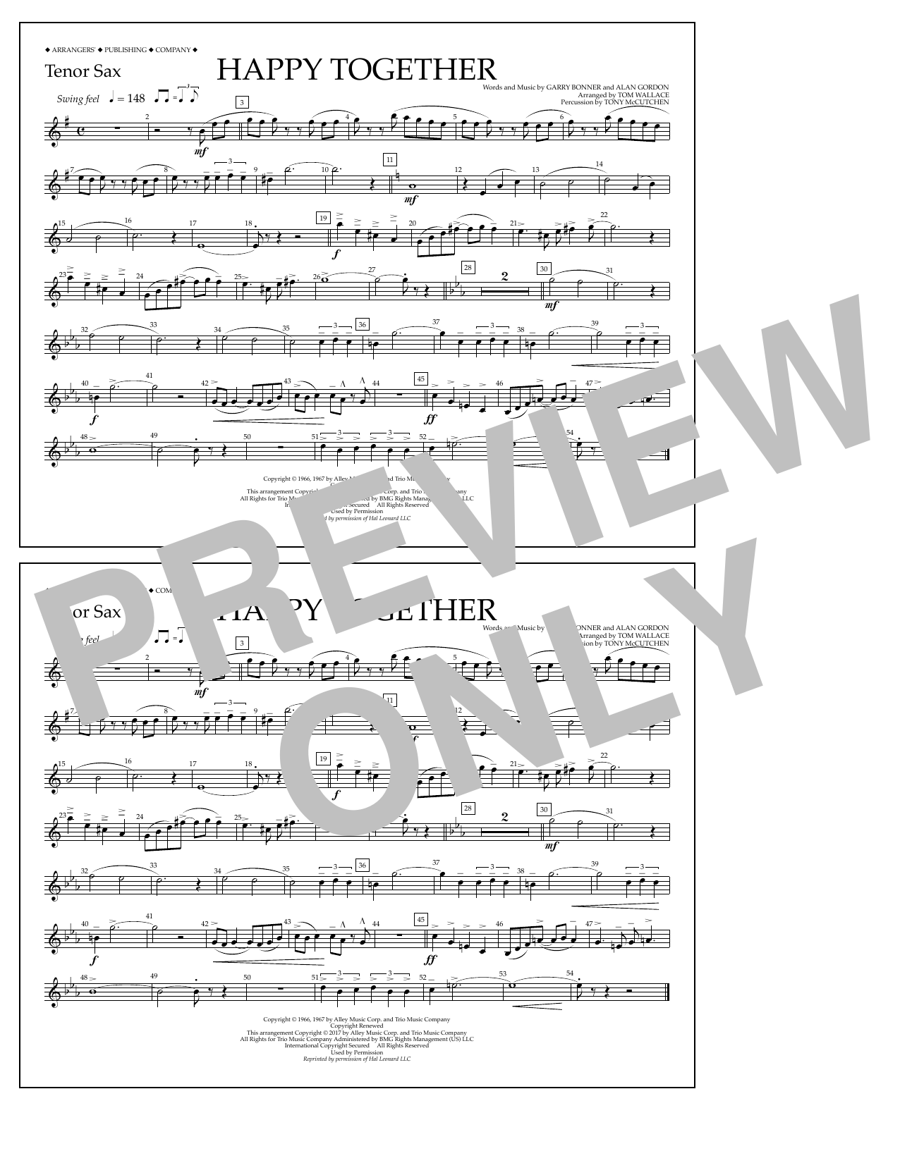 Happy Together - Tenor Sax Sheet Music