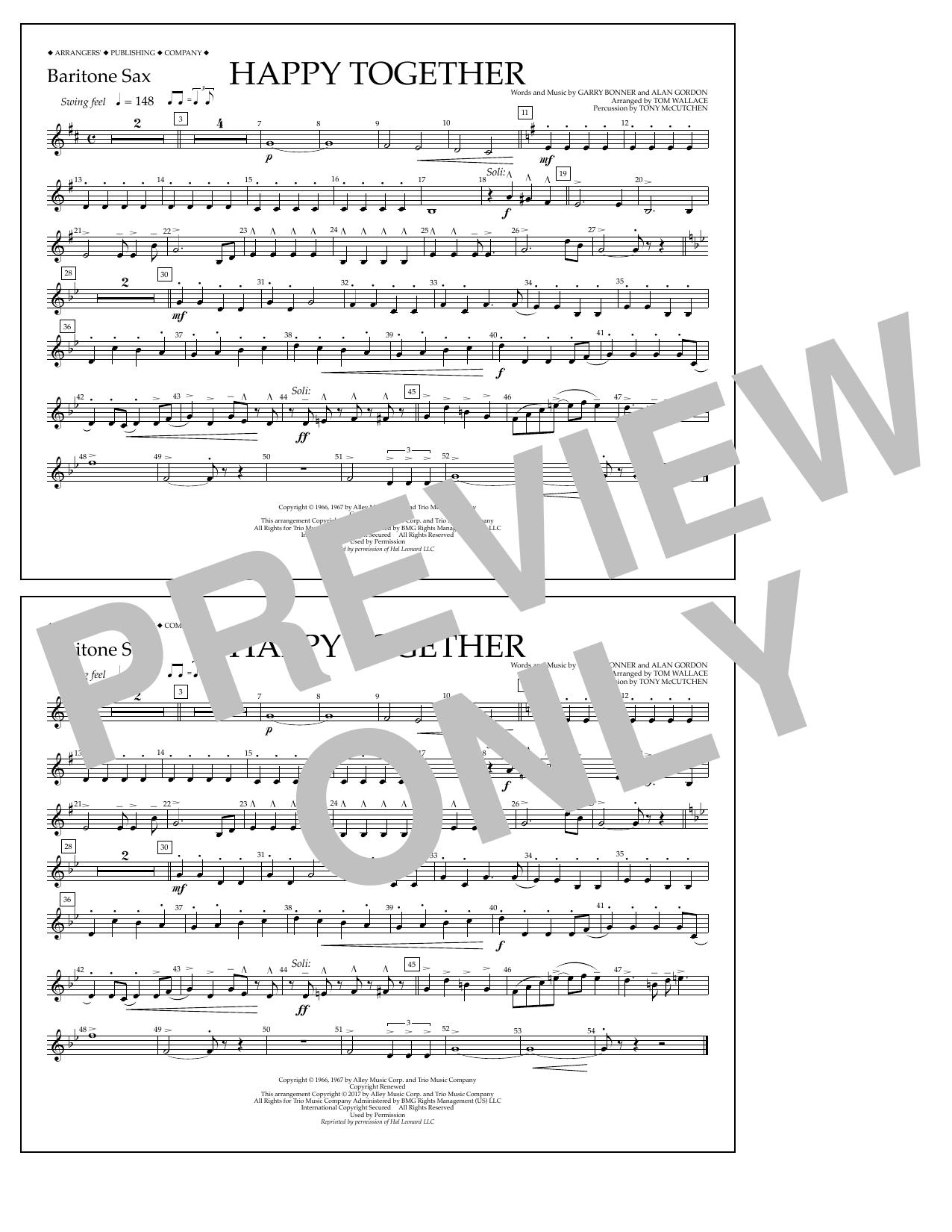 Happy Together - Baritone Sax Sheet Music