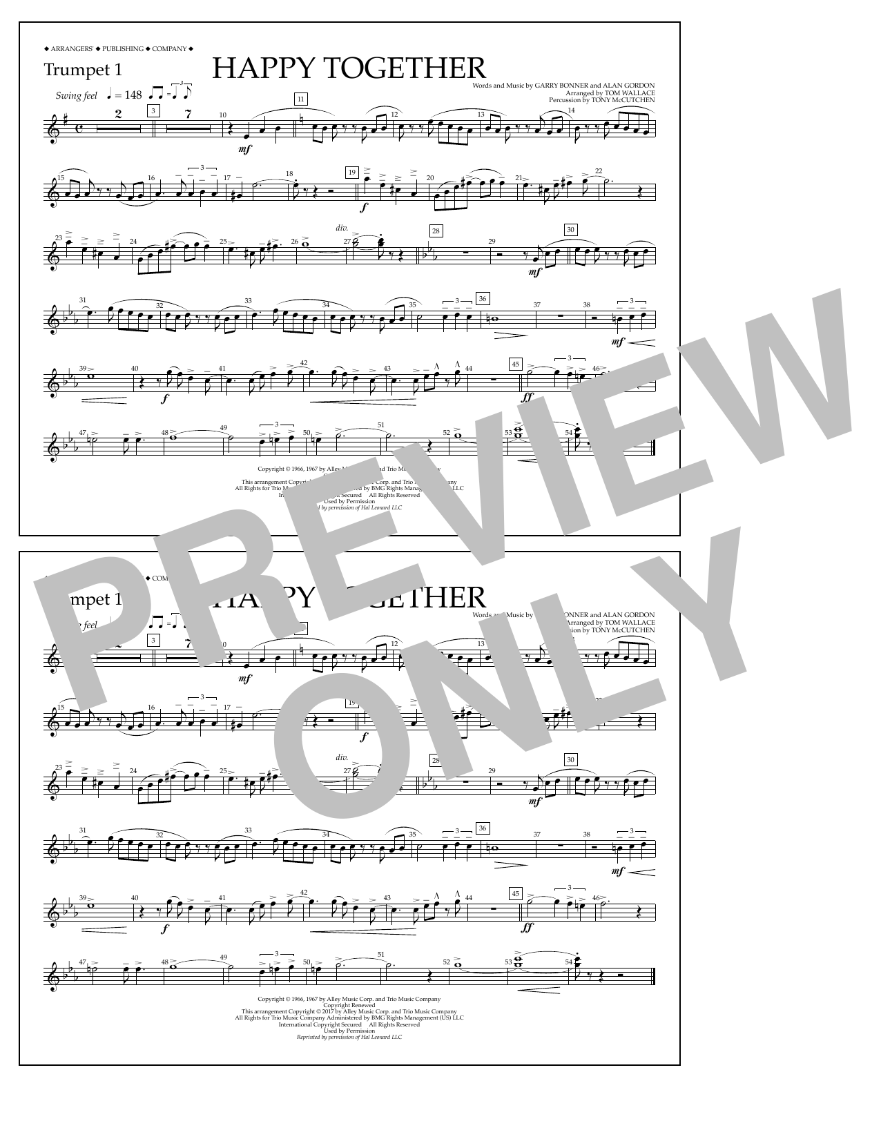 Happy Together - Trumpet 1 Sheet Music