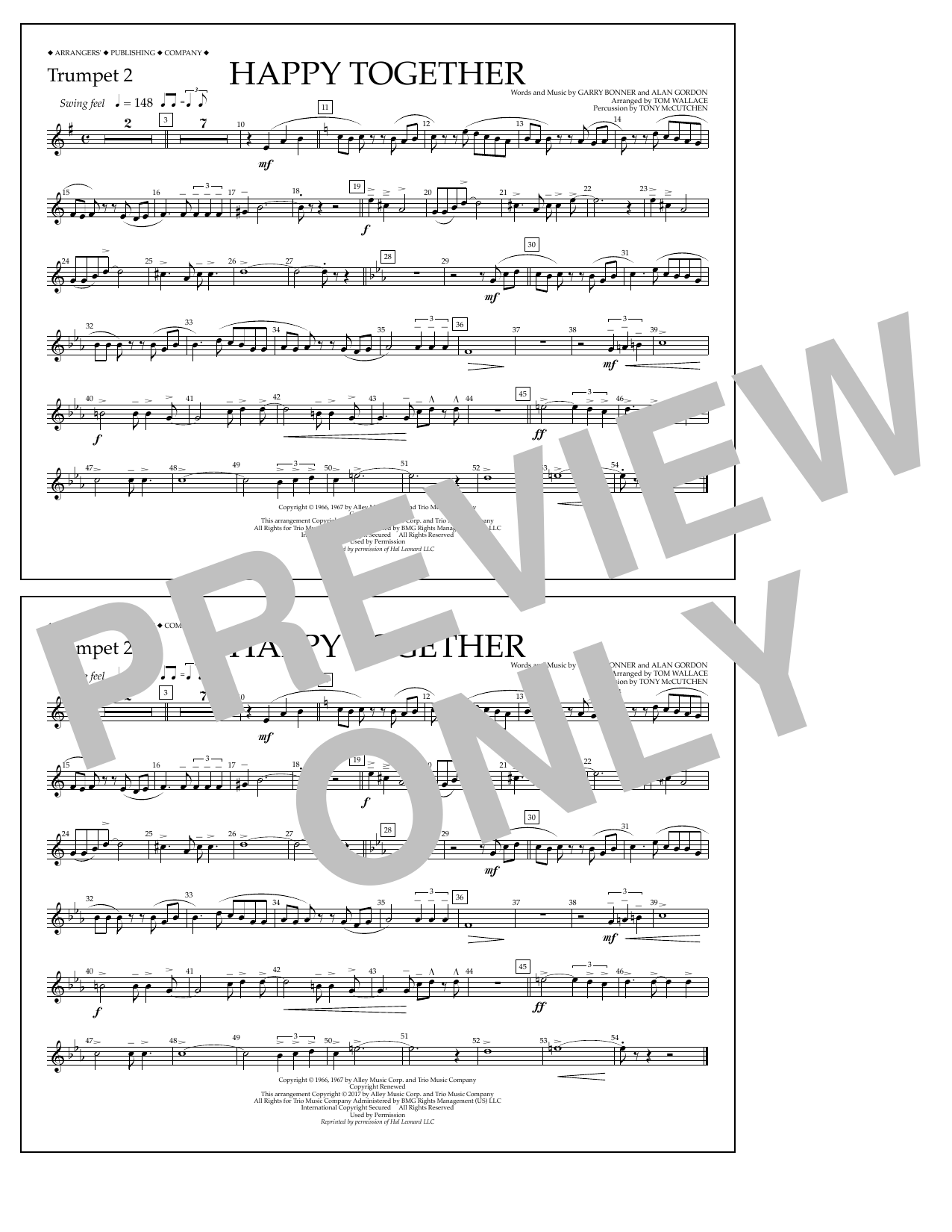 Happy Together - Trumpet 2 Sheet Music