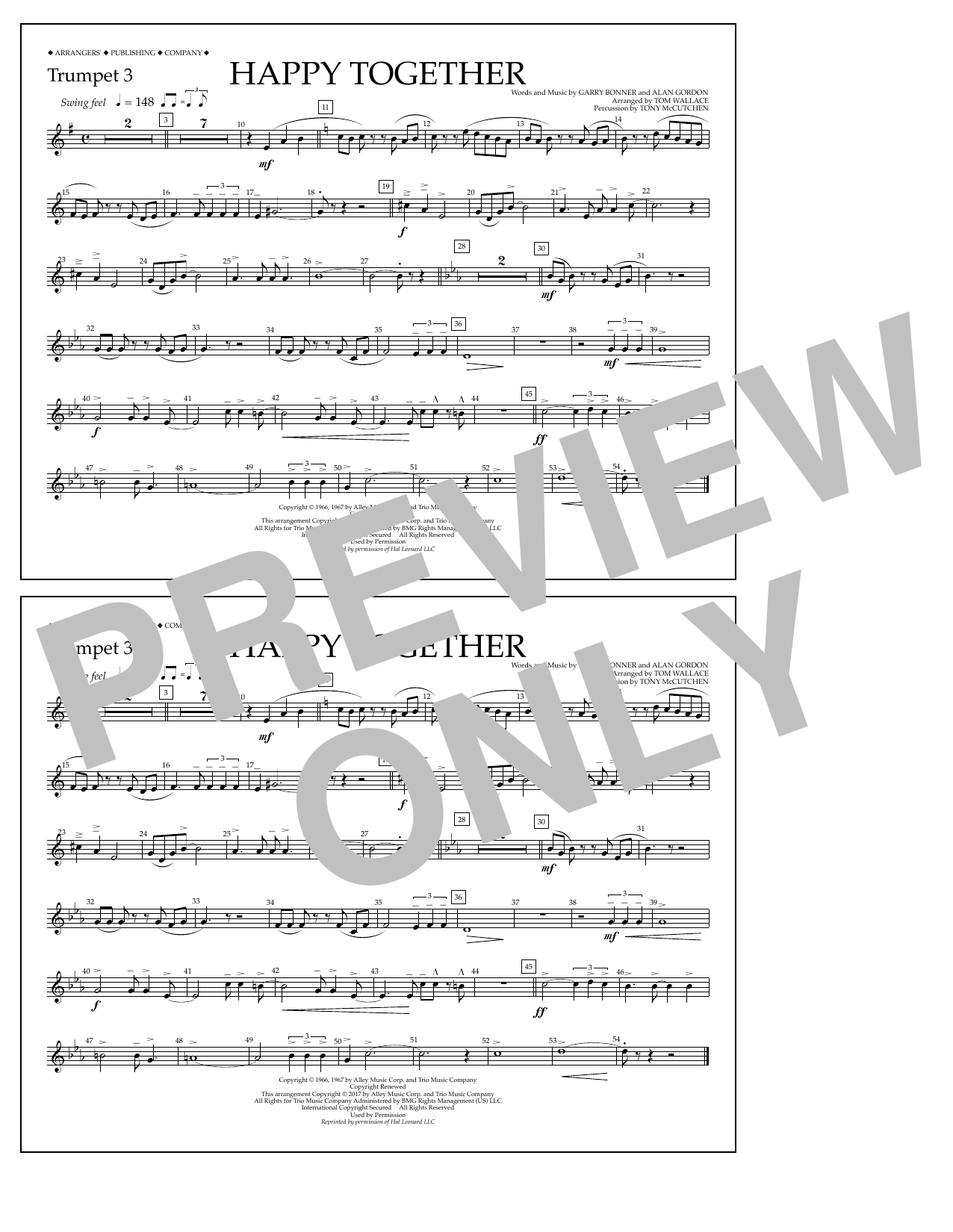 Happy Together - Trumpet 3 Sheet Music