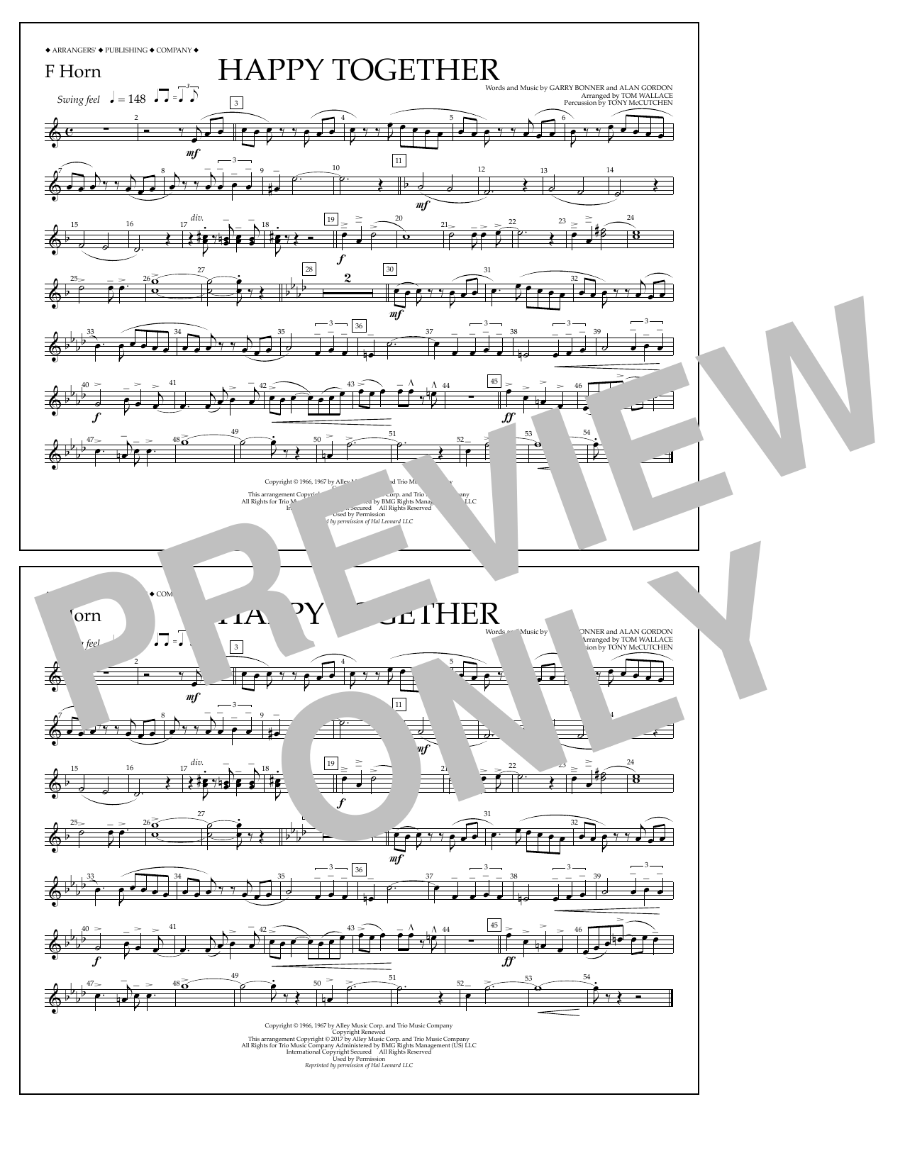 Happy Together - F Horn Sheet Music