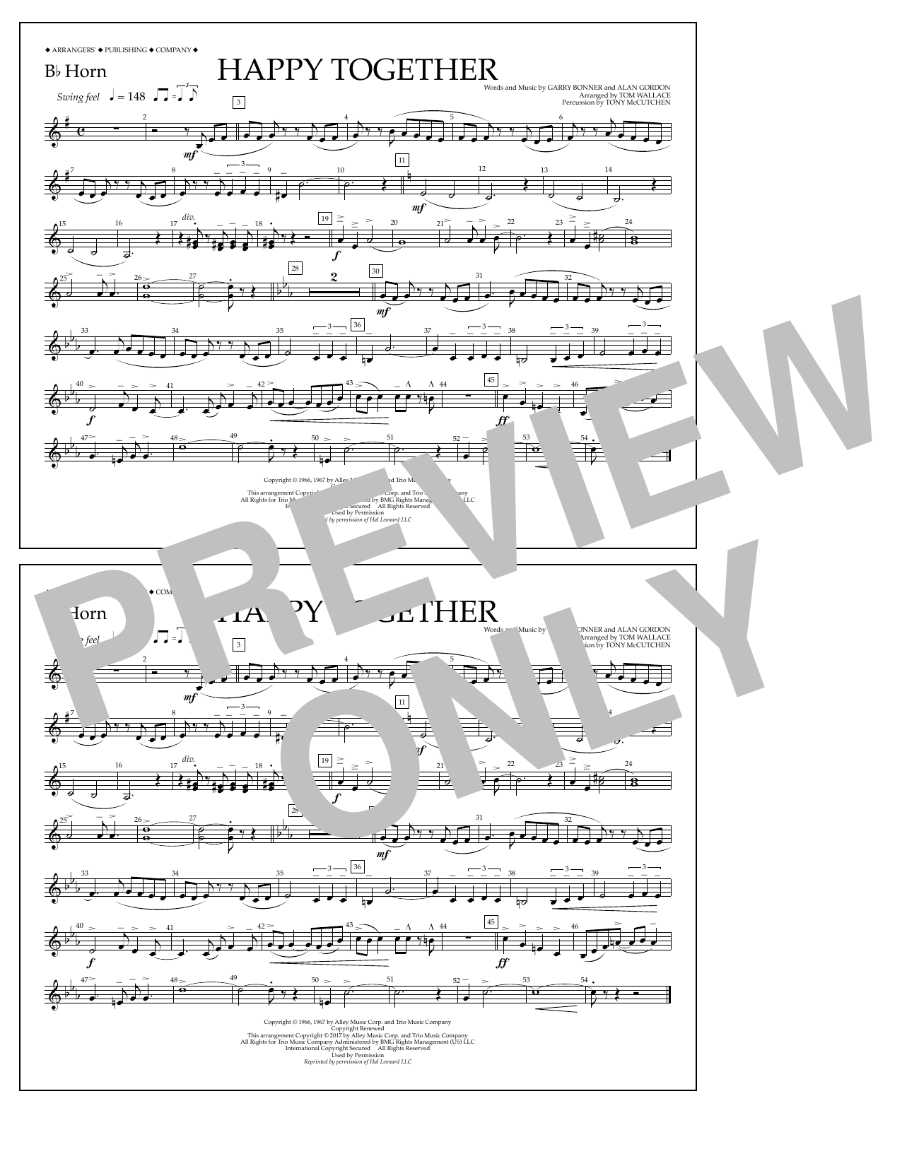 Happy Together - Bb Horn Sheet Music