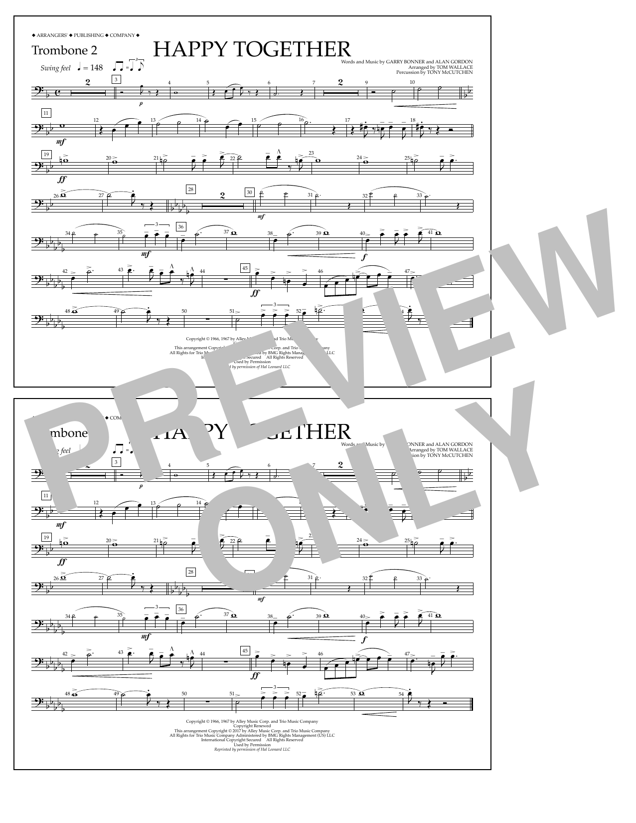 Happy Together - Trombone 2 Sheet Music