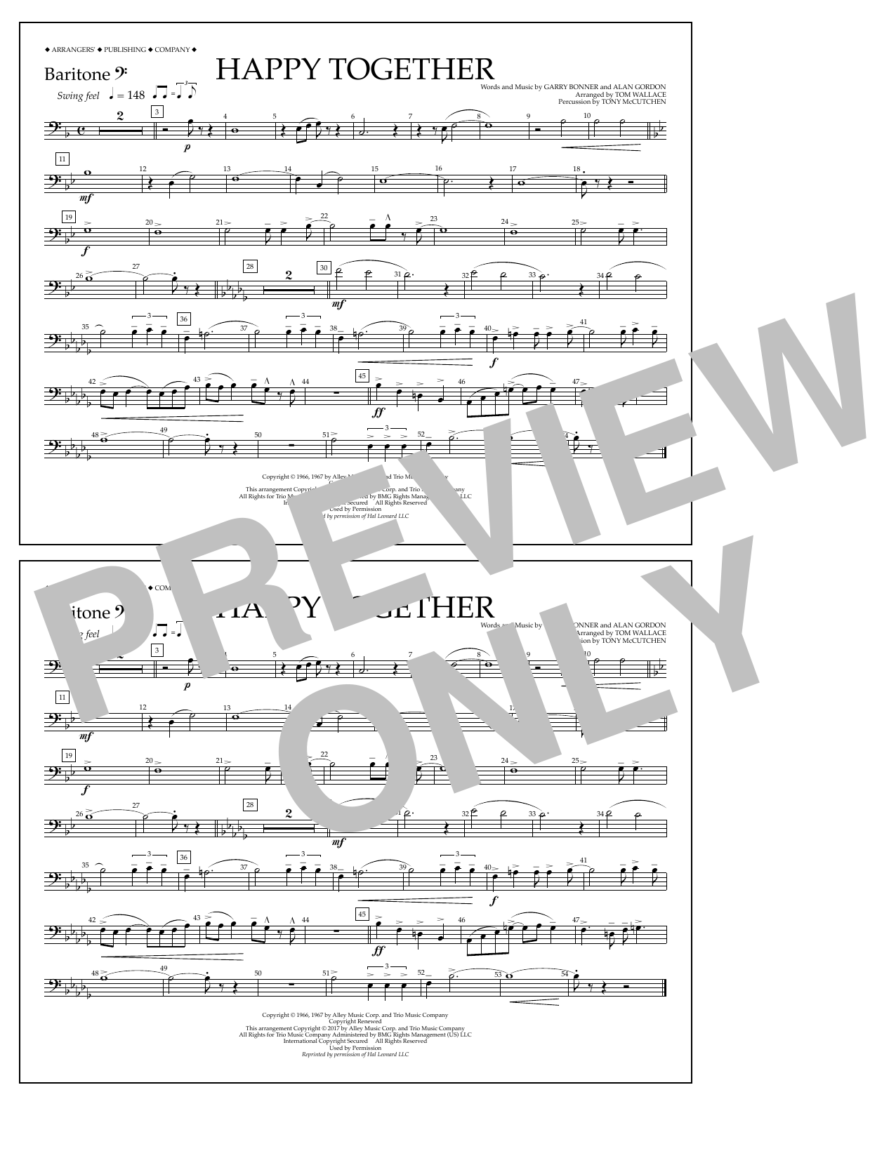 Happy Together - Baritone B.C. Sheet Music