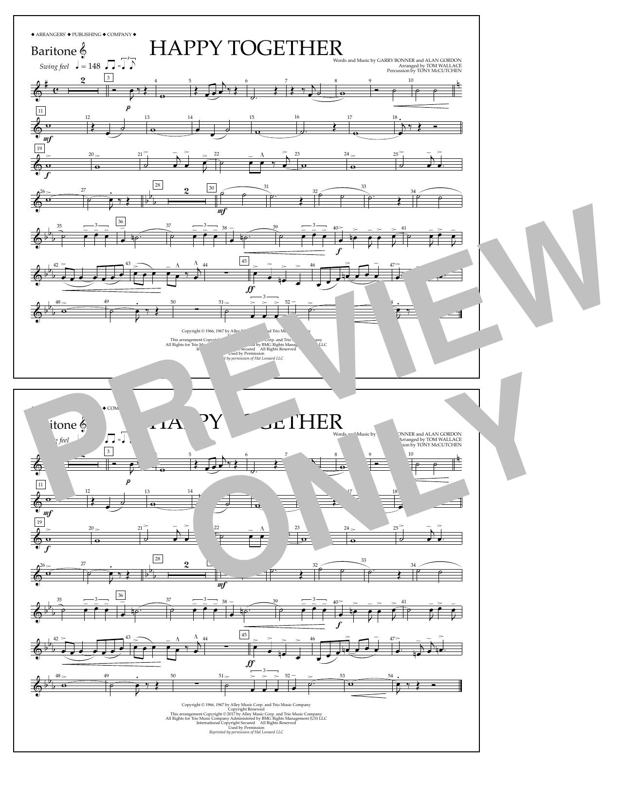 Happy Together - Baritone T.C. Sheet Music