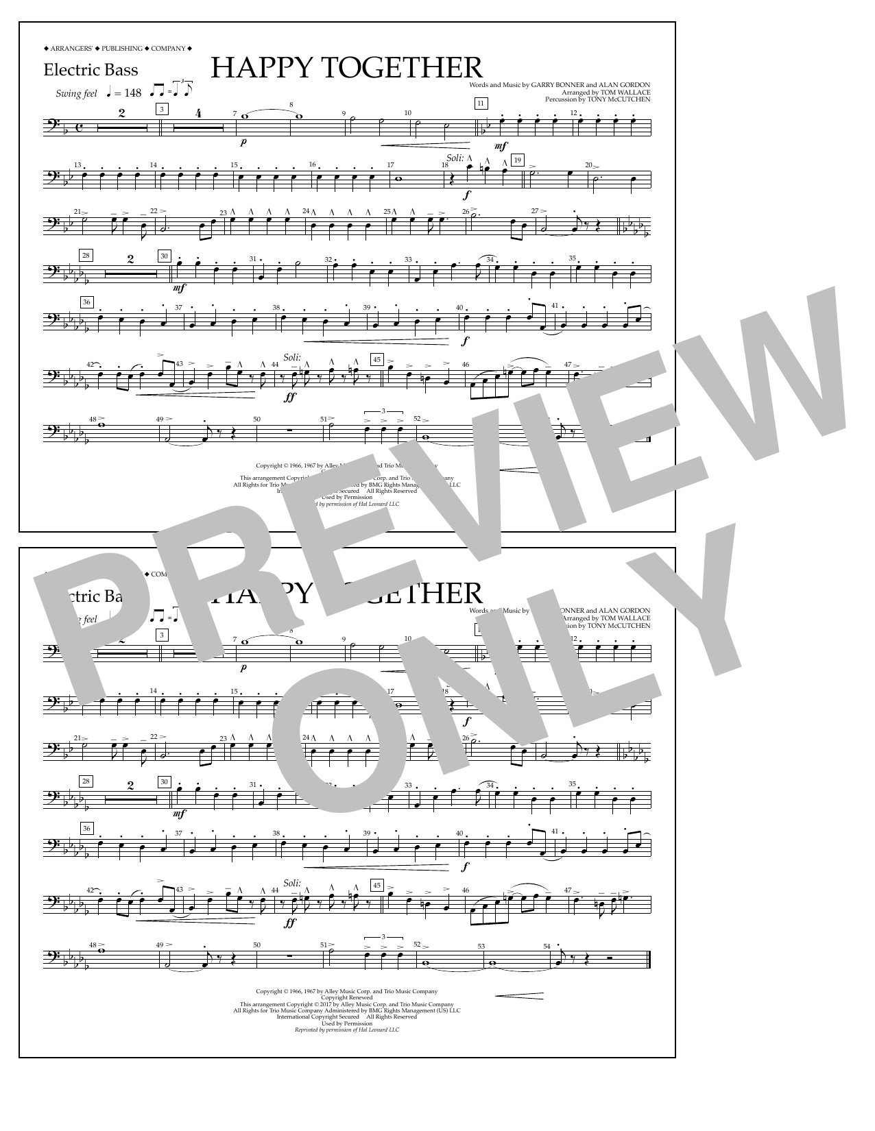 Happy Together - Electric Bass Sheet Music