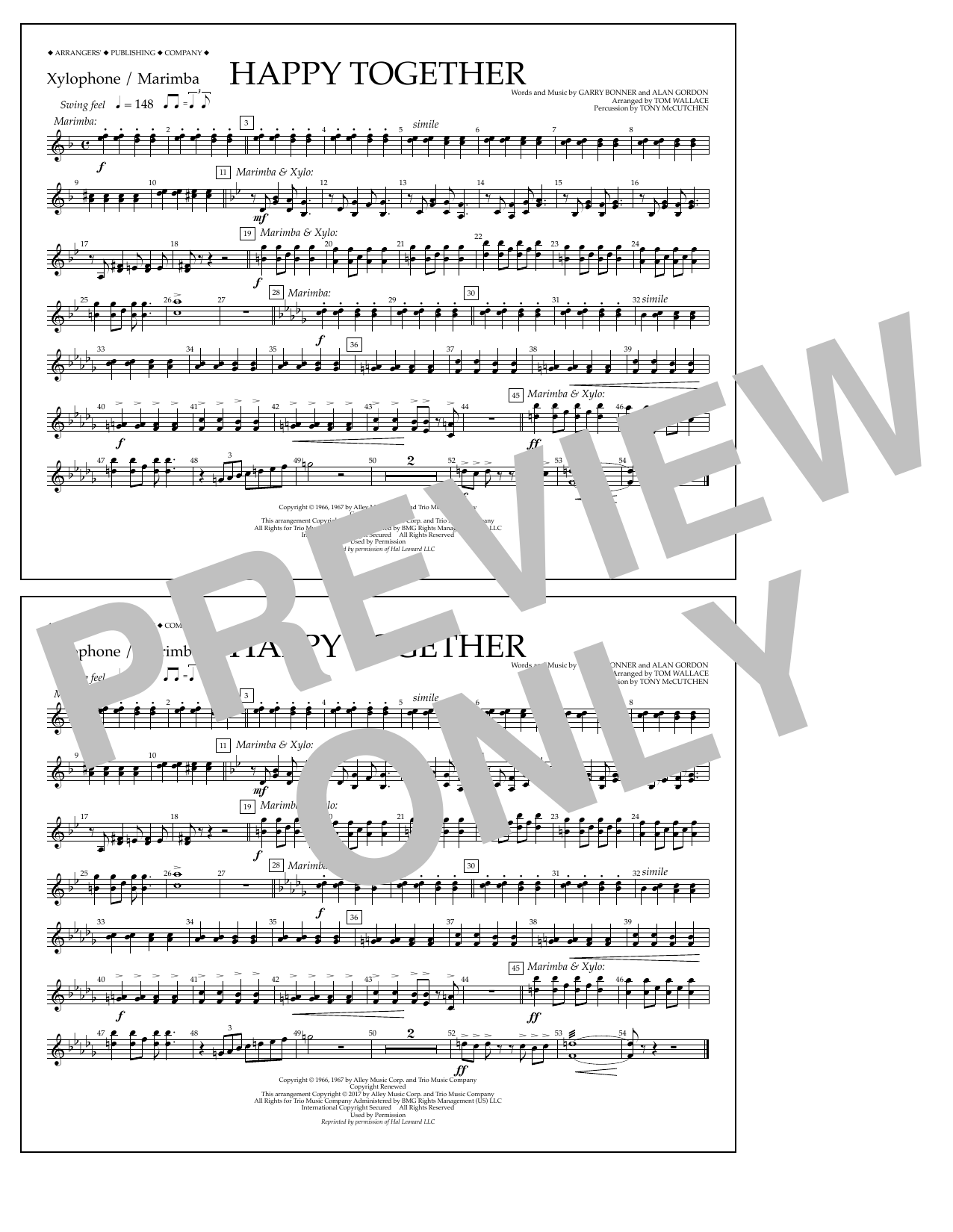 Happy Together - Xylophone/Marimba Sheet Music