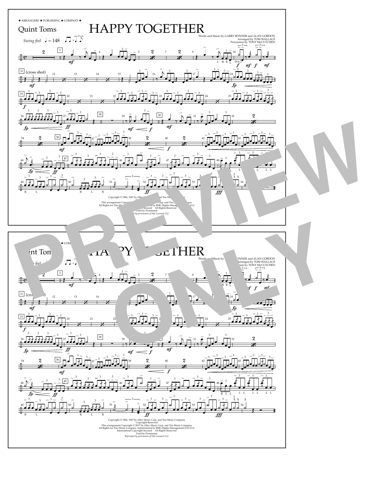 Happy Together - Quint-Toms Sheet Music