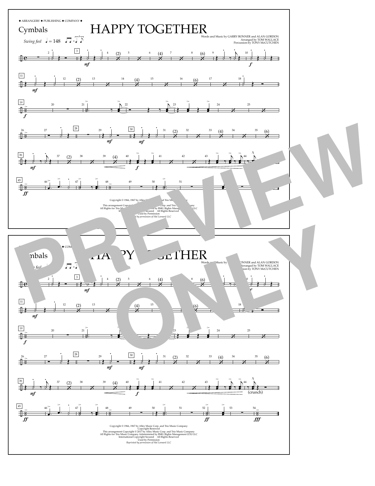 Happy Together - Cymbals Sheet Music