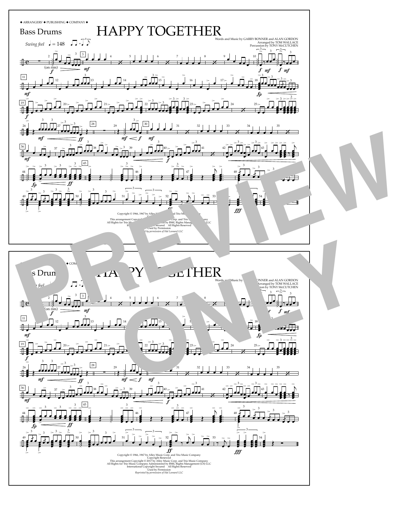 Happy Together - Bass Drums Sheet Music