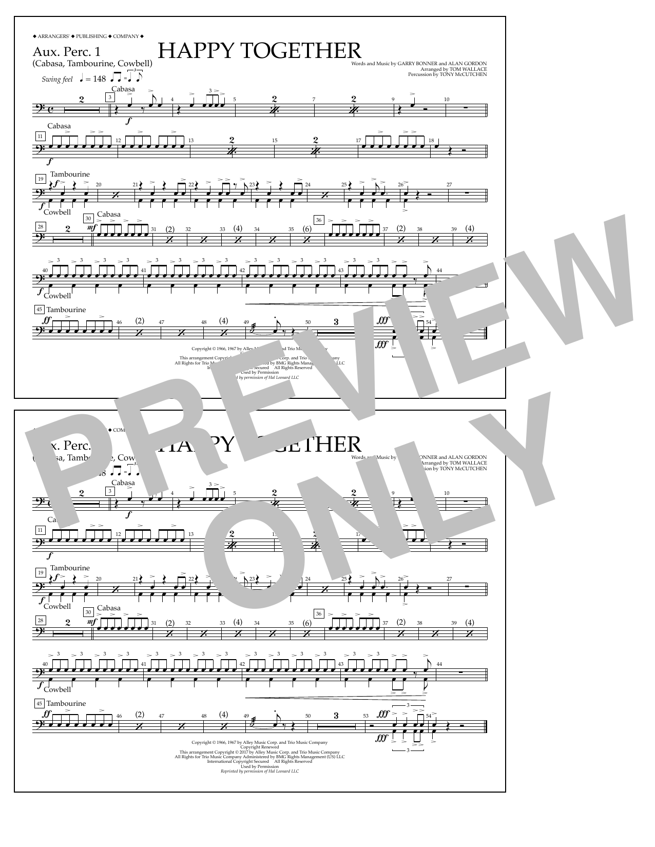 Happy Together - Aux. Perc. 1 Sheet Music