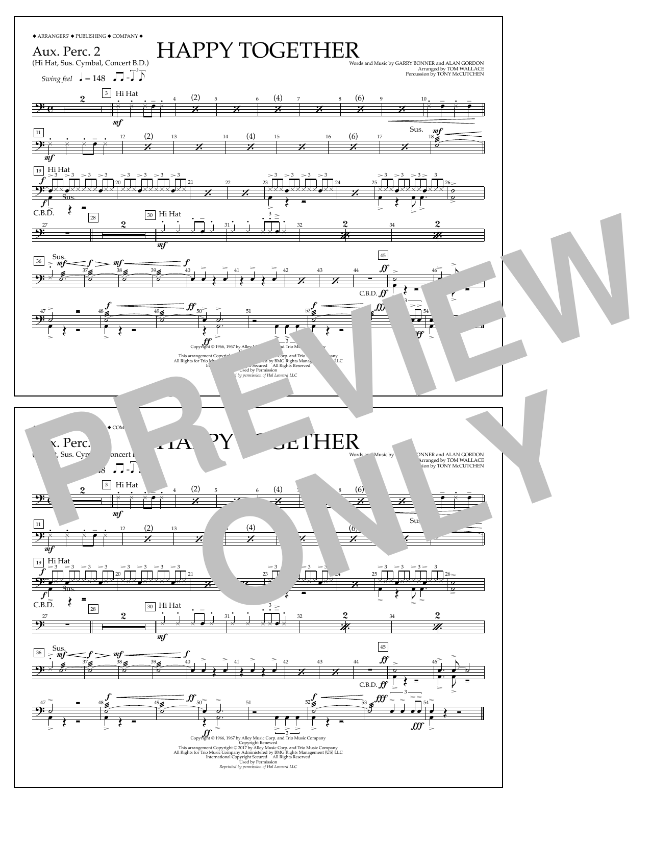 Happy Together - Aux. Perc. 2 Sheet Music