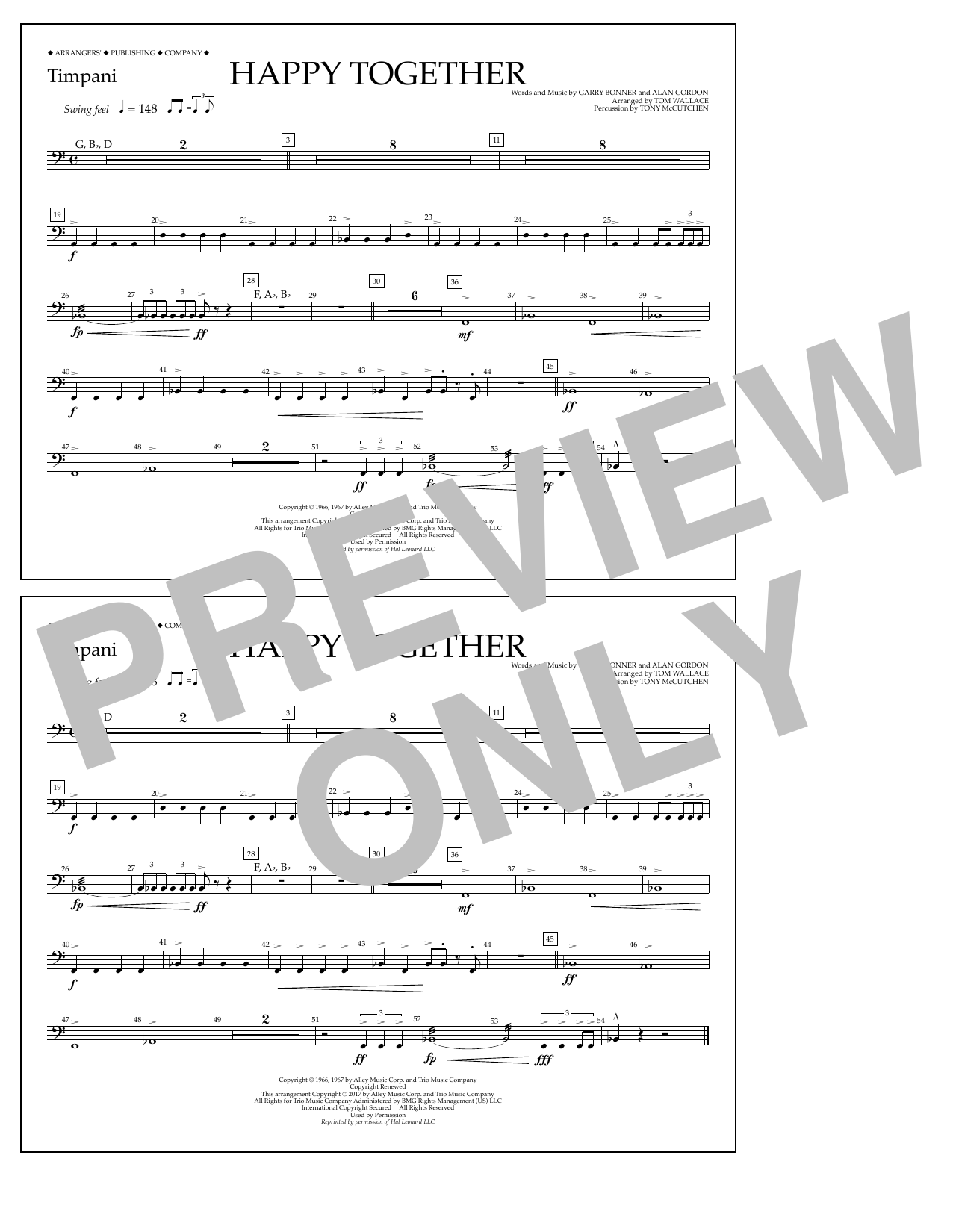 Happy Together - Timpani Sheet Music