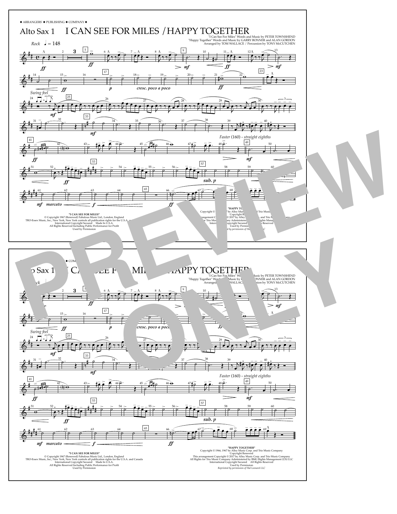I Can See for Miles/Happy Together - Alto Sax 1 Sheet Music