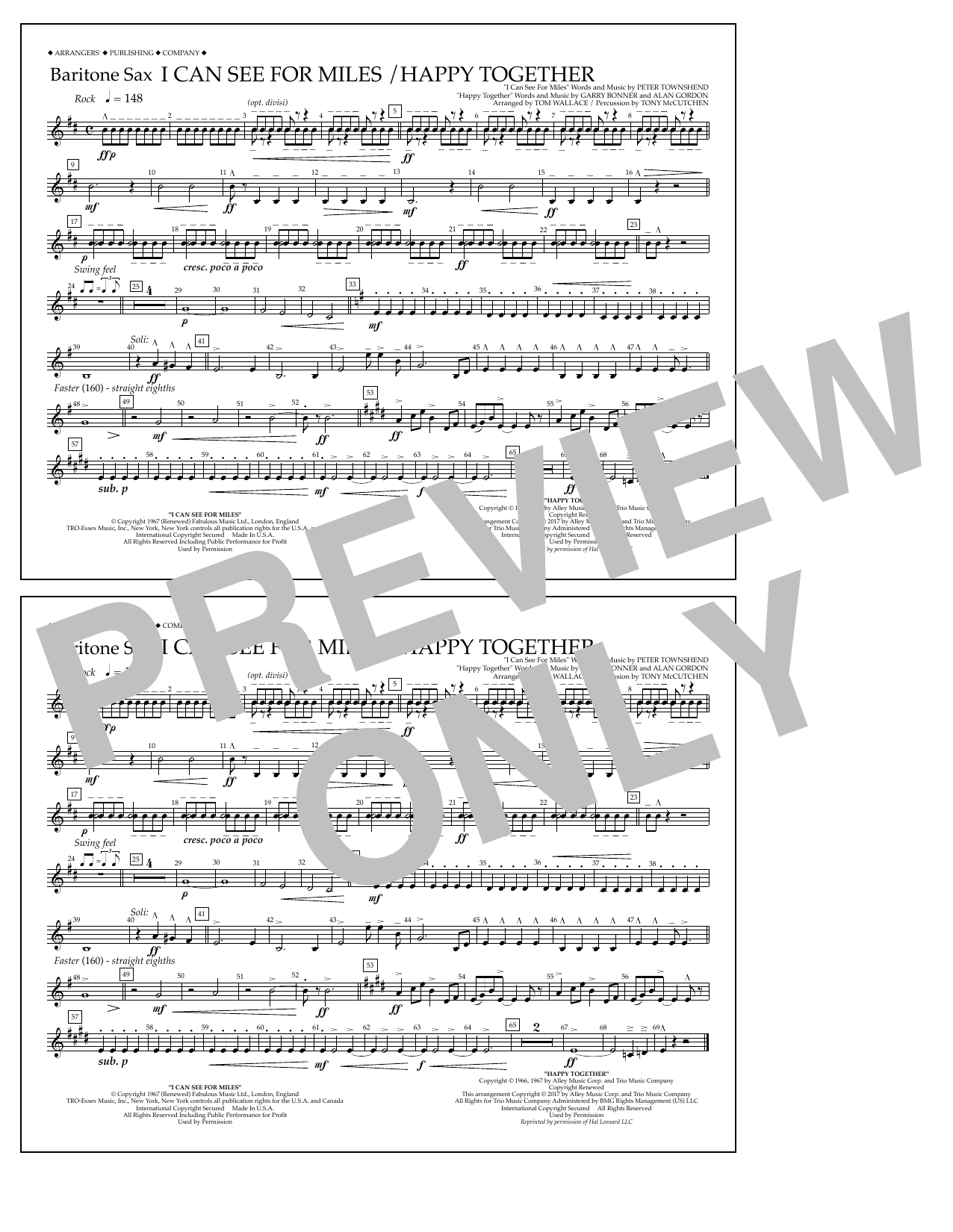 I Can See for Miles/Happy Together - Baritone Sax Sheet Music