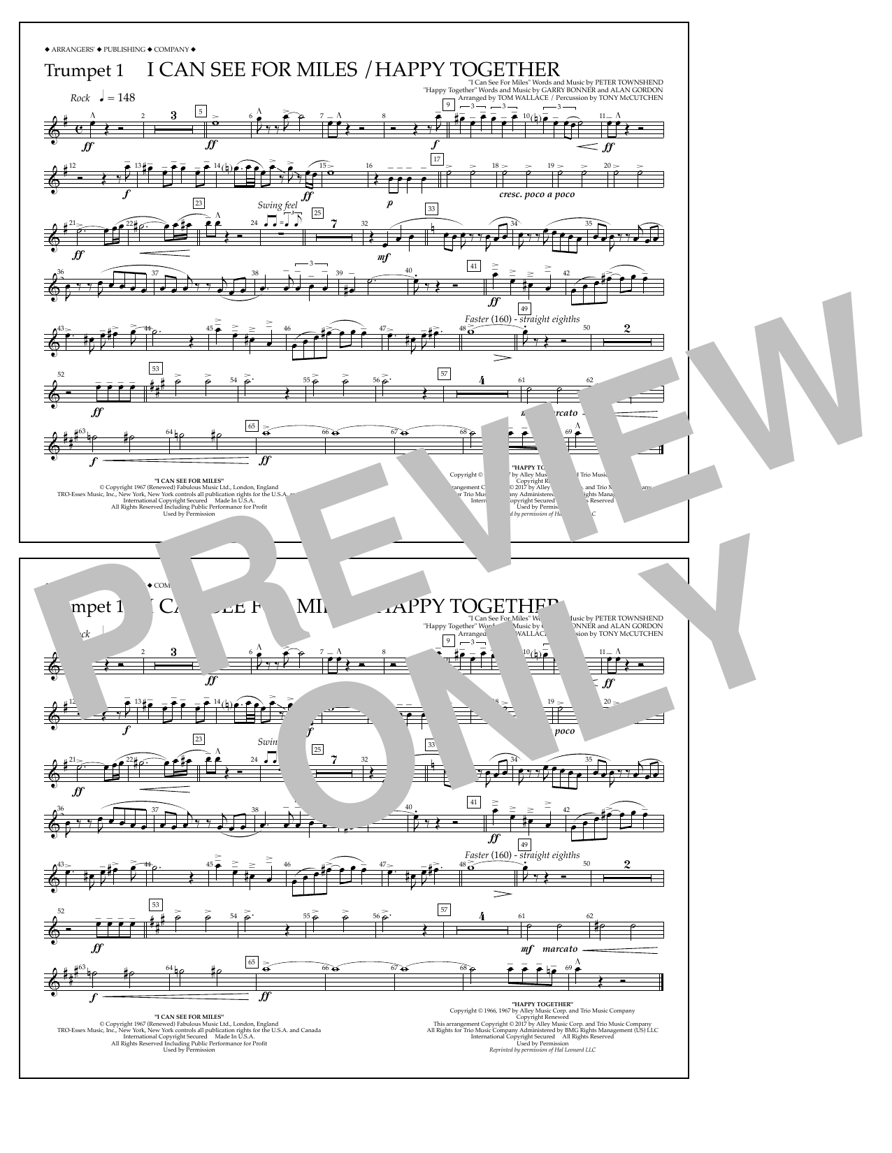 I Can See for Miles/Happy Together - Trumpet 1 Sheet Music