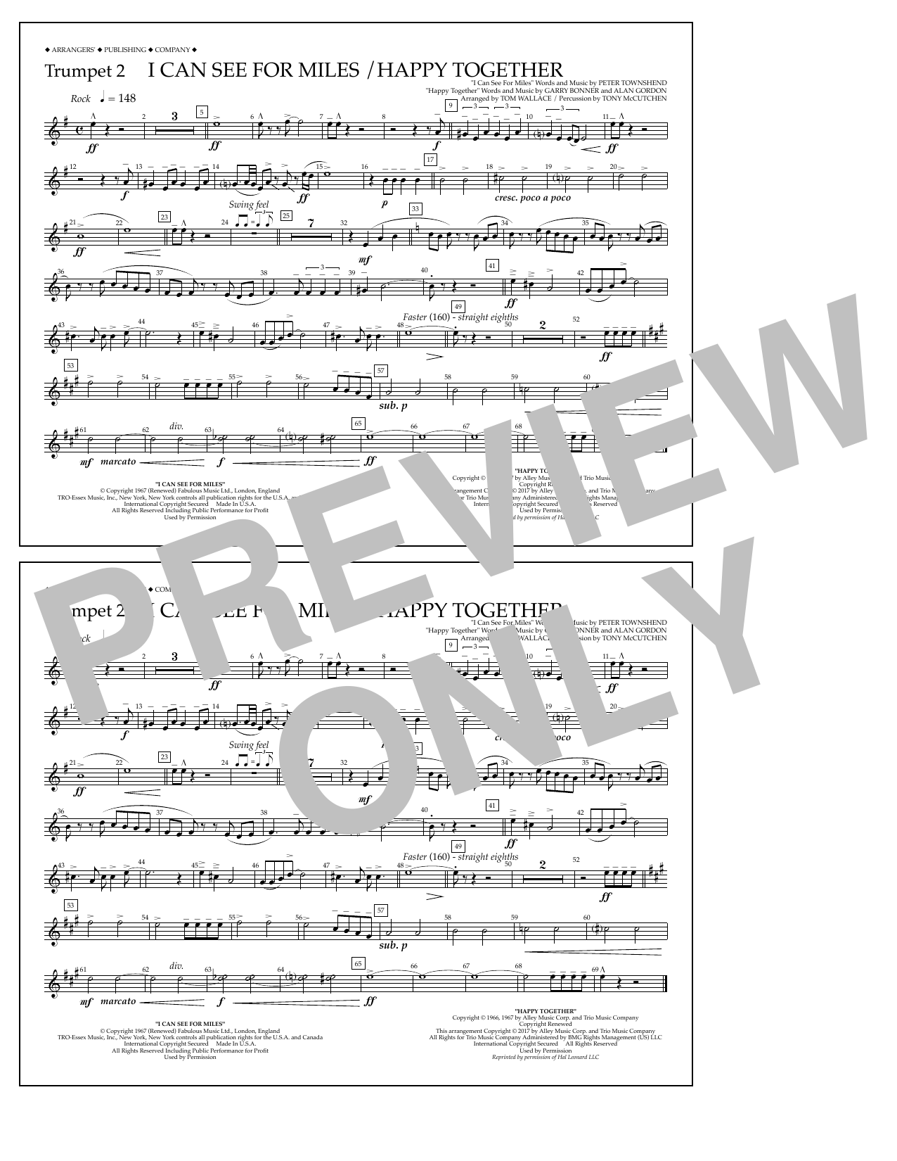 I Can See for Miles/Happy Together - Trumpet 2 Sheet Music