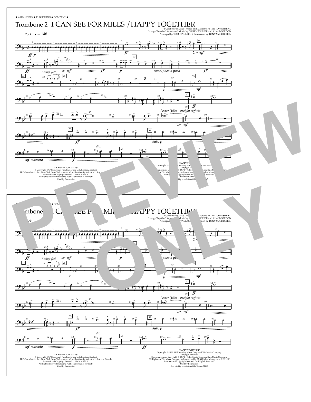 I Can See for Miles/Happy Together - Trombone 2 Sheet Music