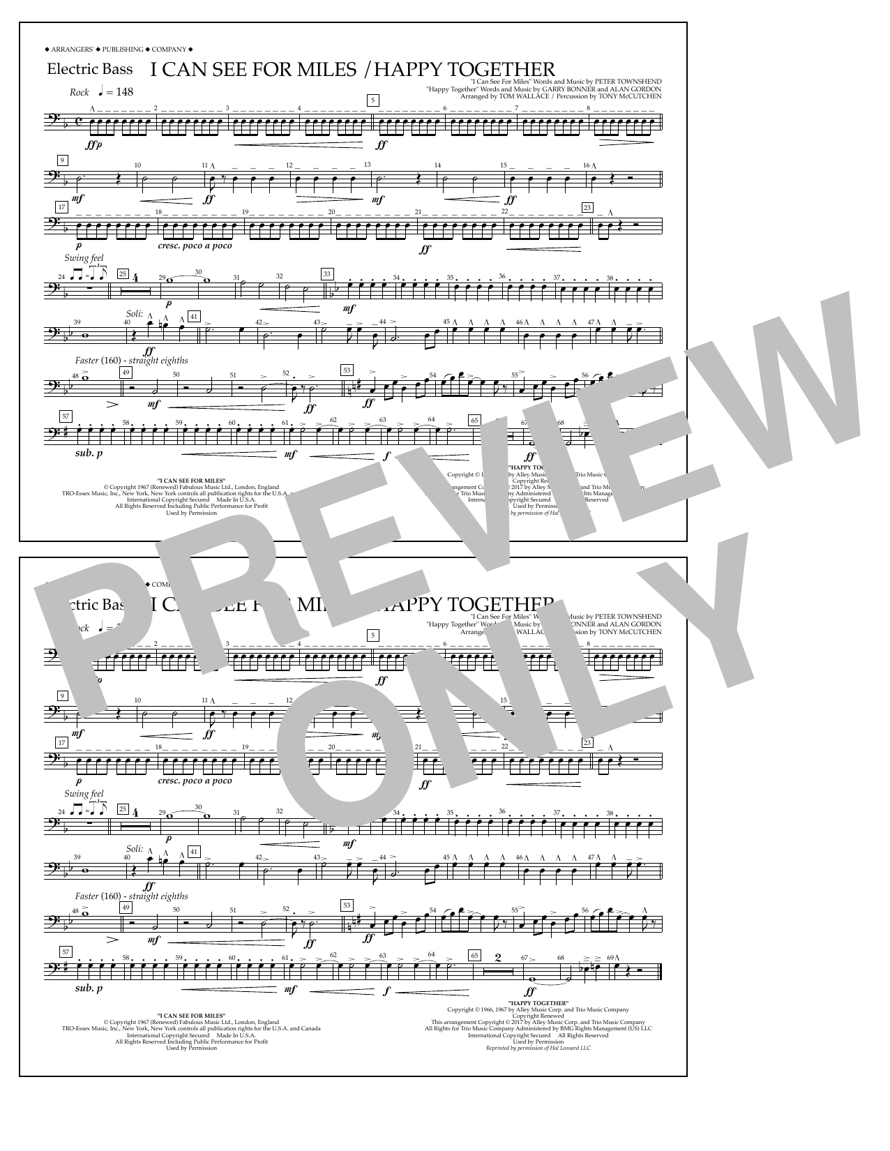 I Can See for Miles/Happy Together - Electric Bass Sheet Music