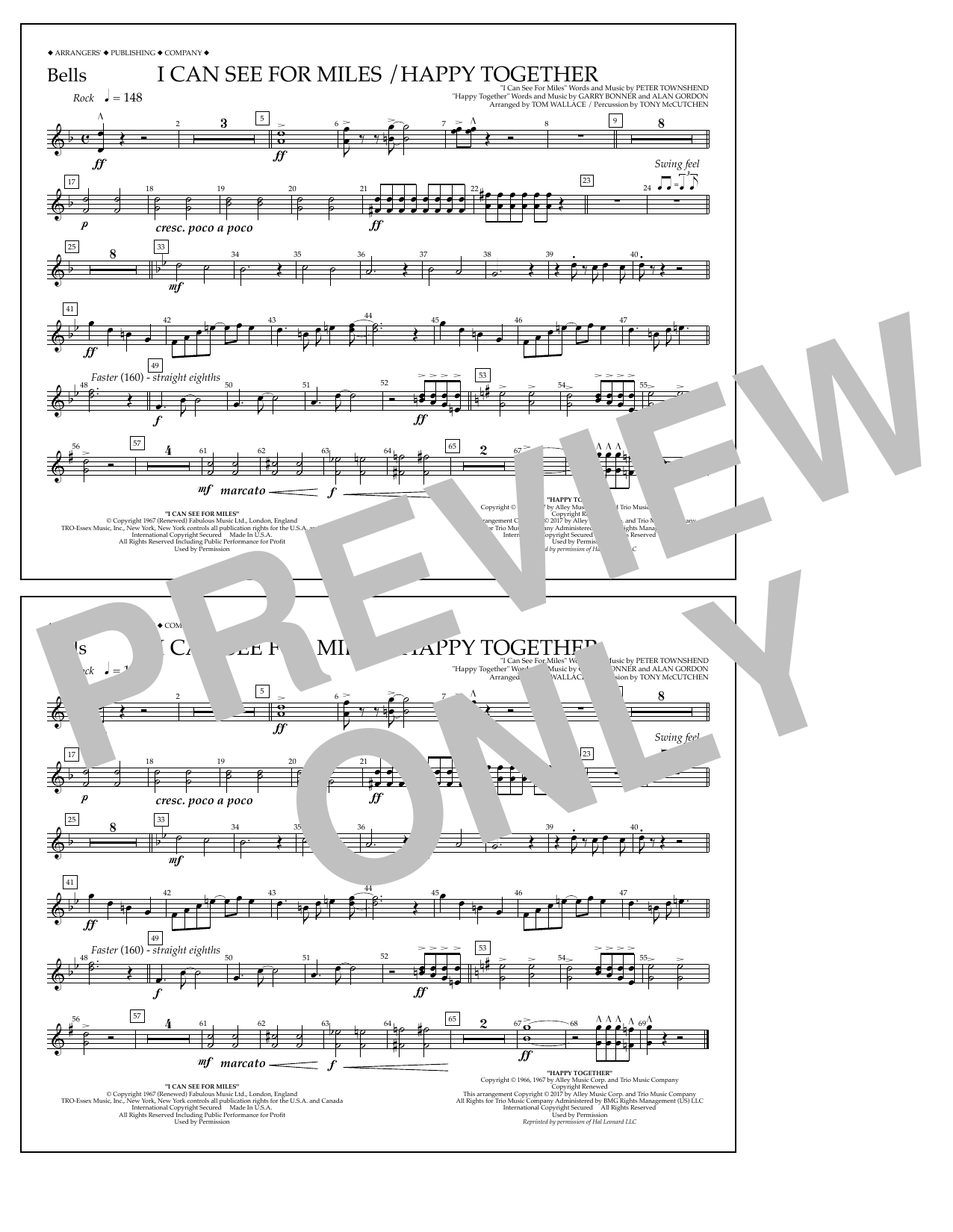 I Can See for Miles/Happy Together - Bells Sheet Music