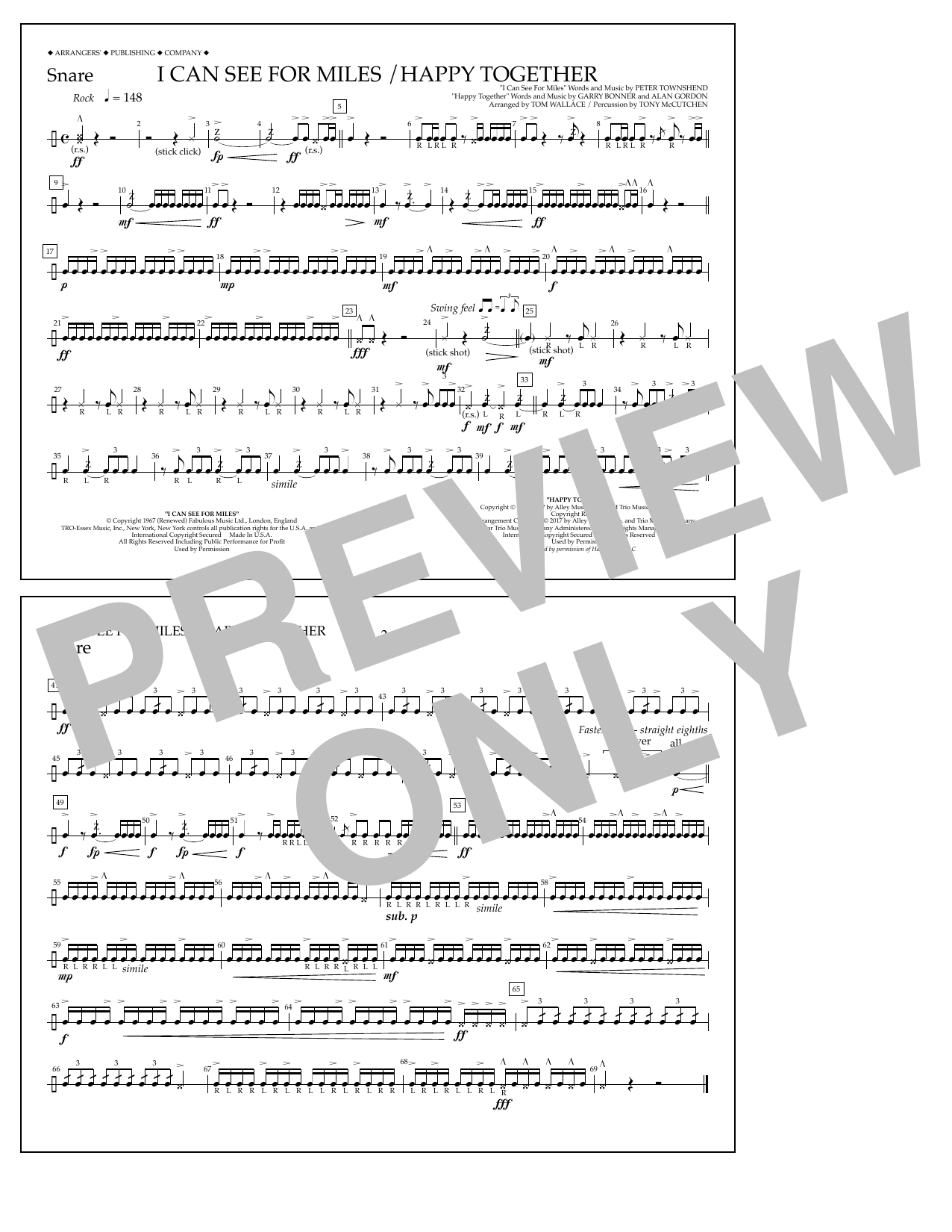 I Can See for Miles/Happy Together - Snare Sheet Music