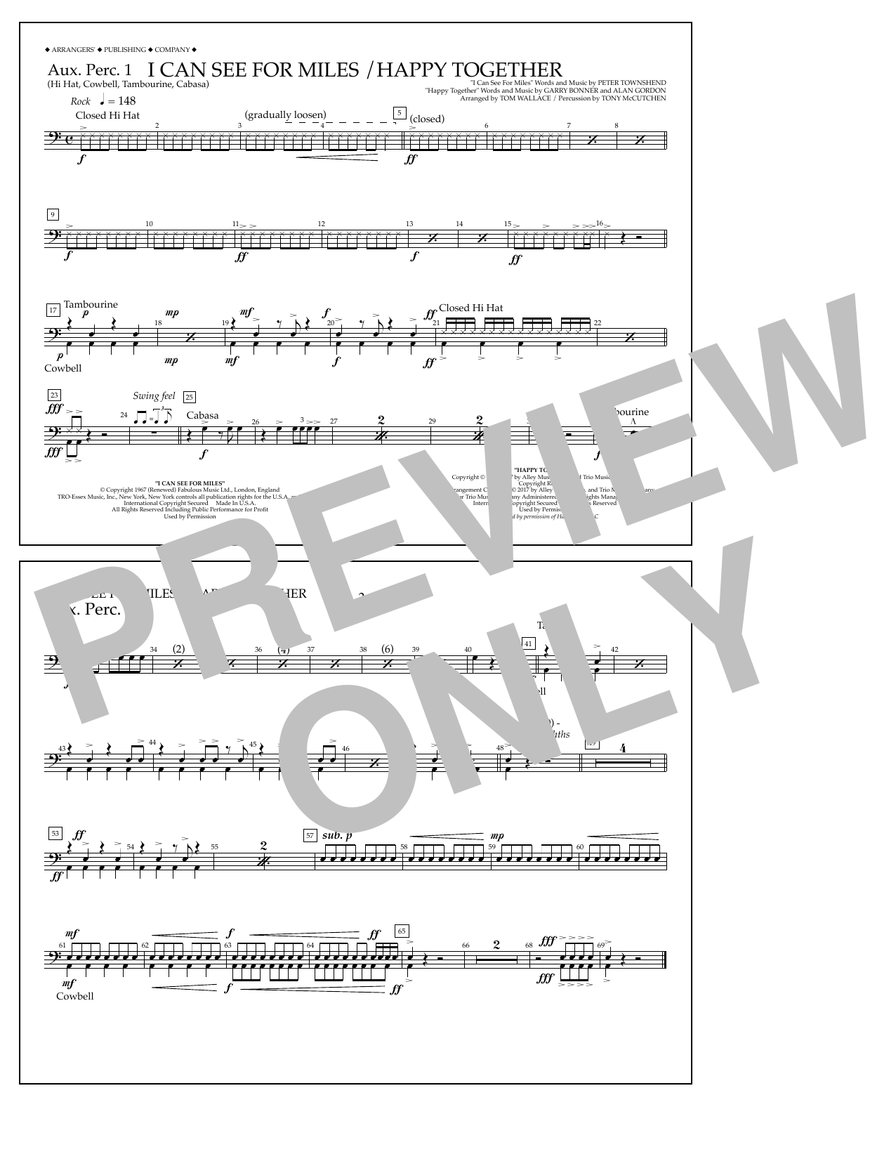 I Can See for Miles/Happy Together - Aux. Perc. 1 Sheet Music
