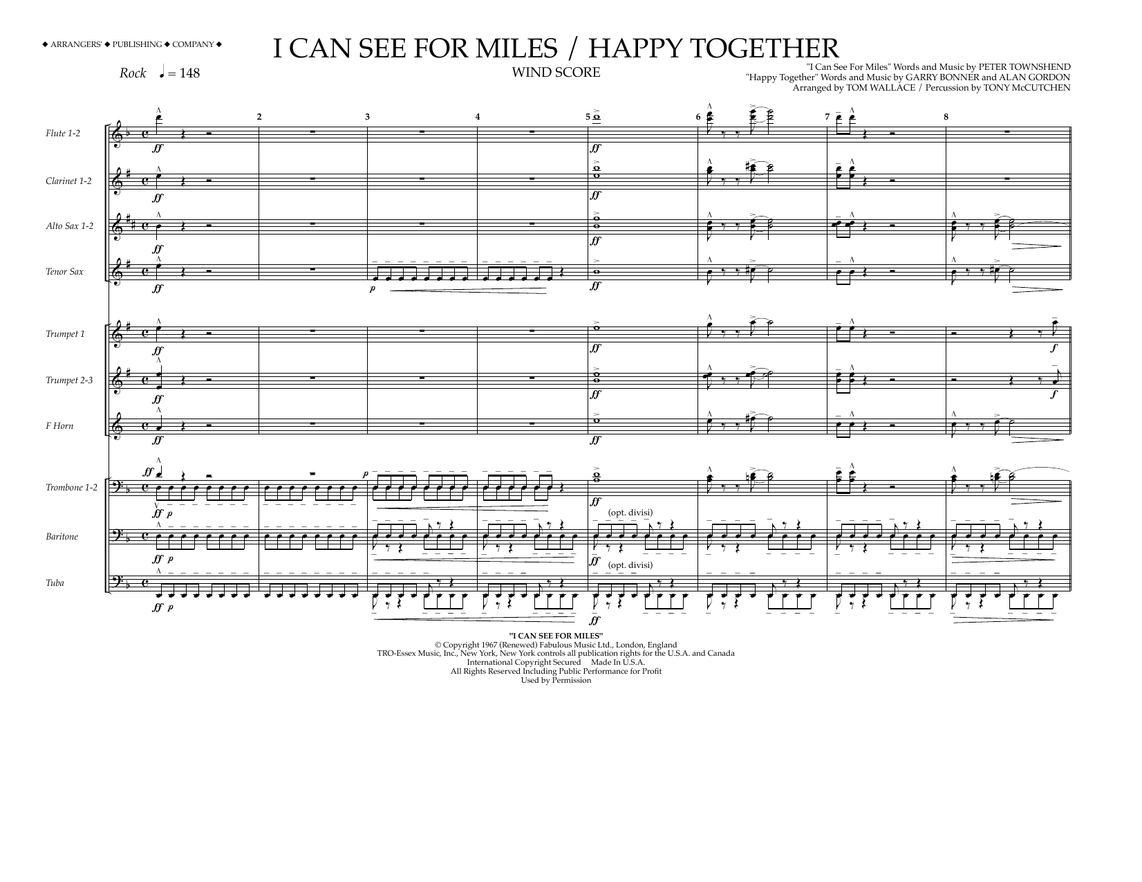 I Can See for Miles/Happy Together - Wind Score Sheet Music