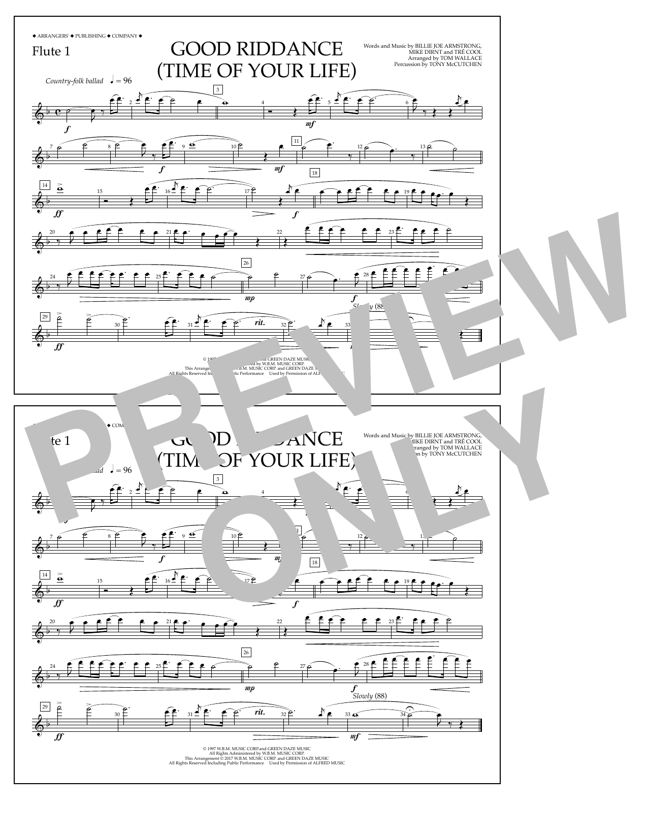 Good Riddance (Time of Your Life) - Flute 1 Sheet Music