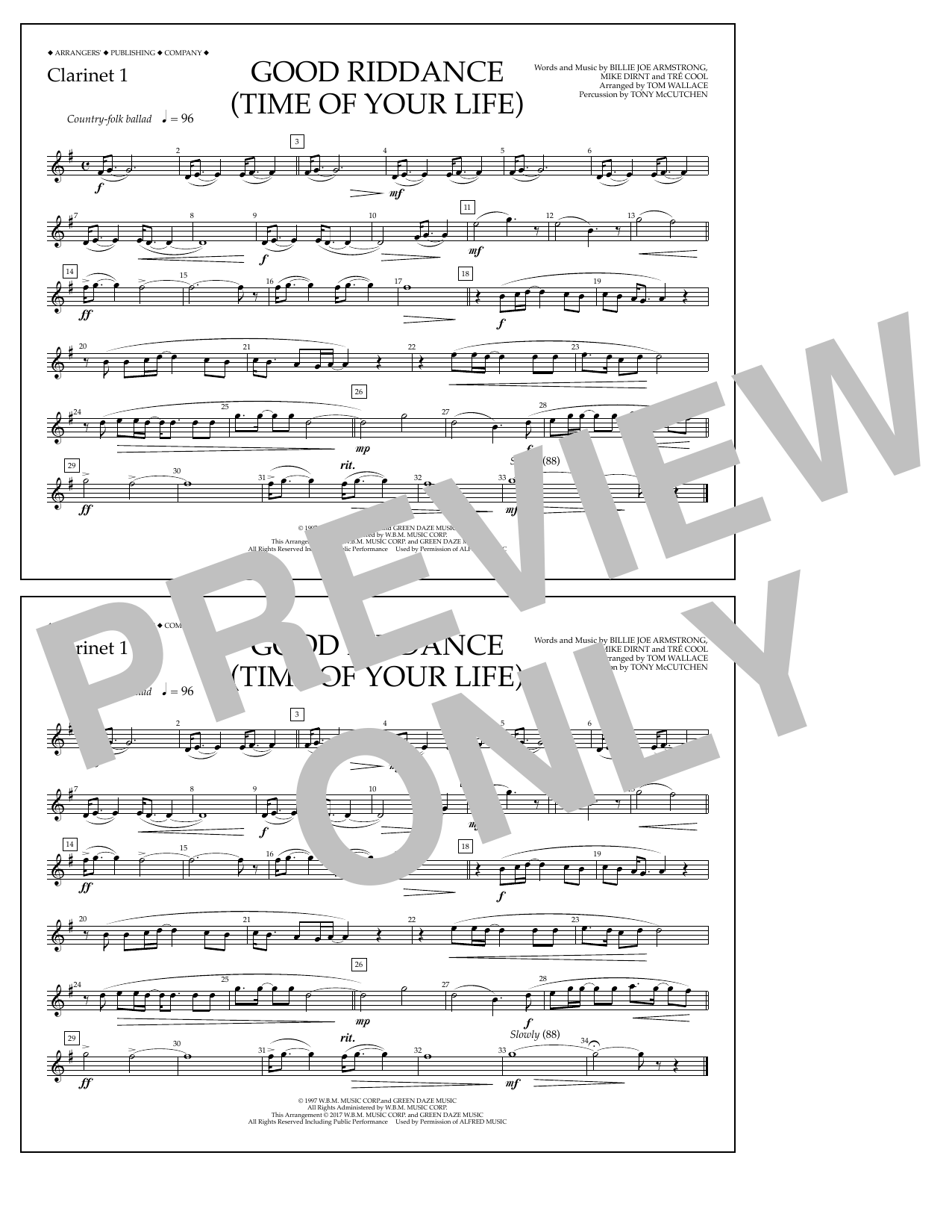 Good Riddance (Time of Your Life) - Clarinet 1 Sheet Music