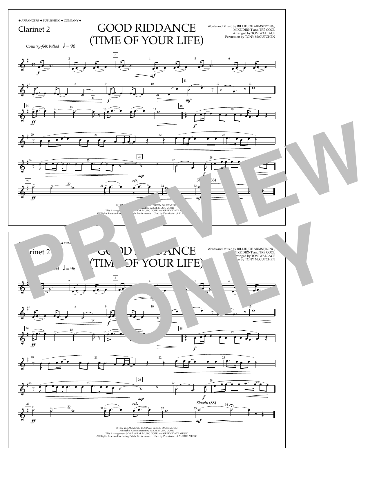 Good Riddance (Time of Your Life) - Clarinet 2 Sheet Music