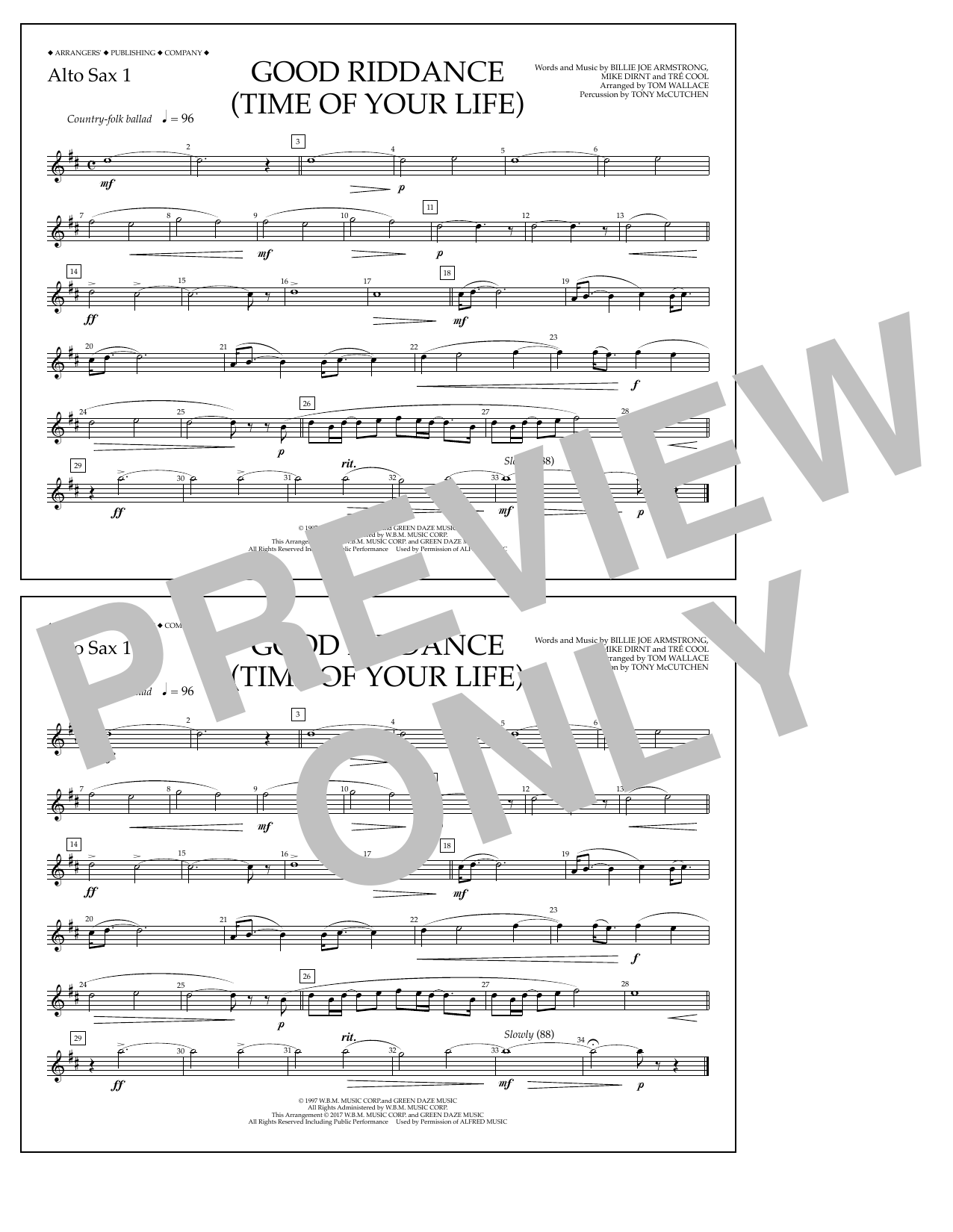 Good Riddance (Time of Your Life) - Alto Sax 1 Sheet Music