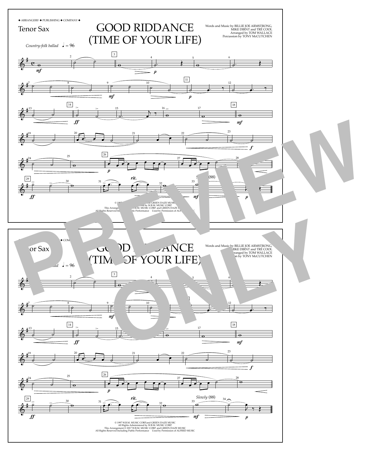 Good Riddance (Time of Your Life) - Tenor Sax Sheet Music